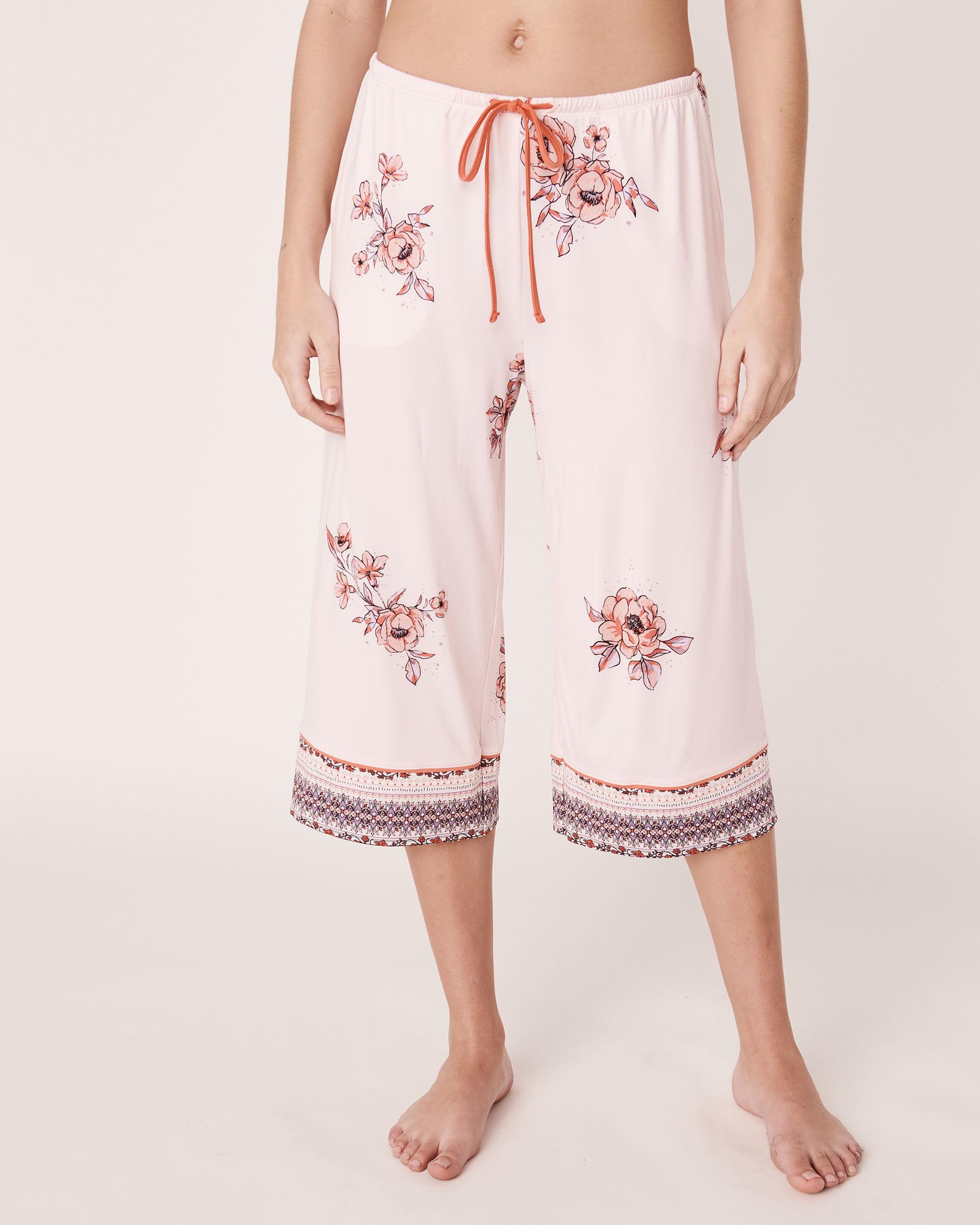 LA VIE EN ROSE Capri jambe large en fibres recyclées Imprimé floral 40200059 - Voir1