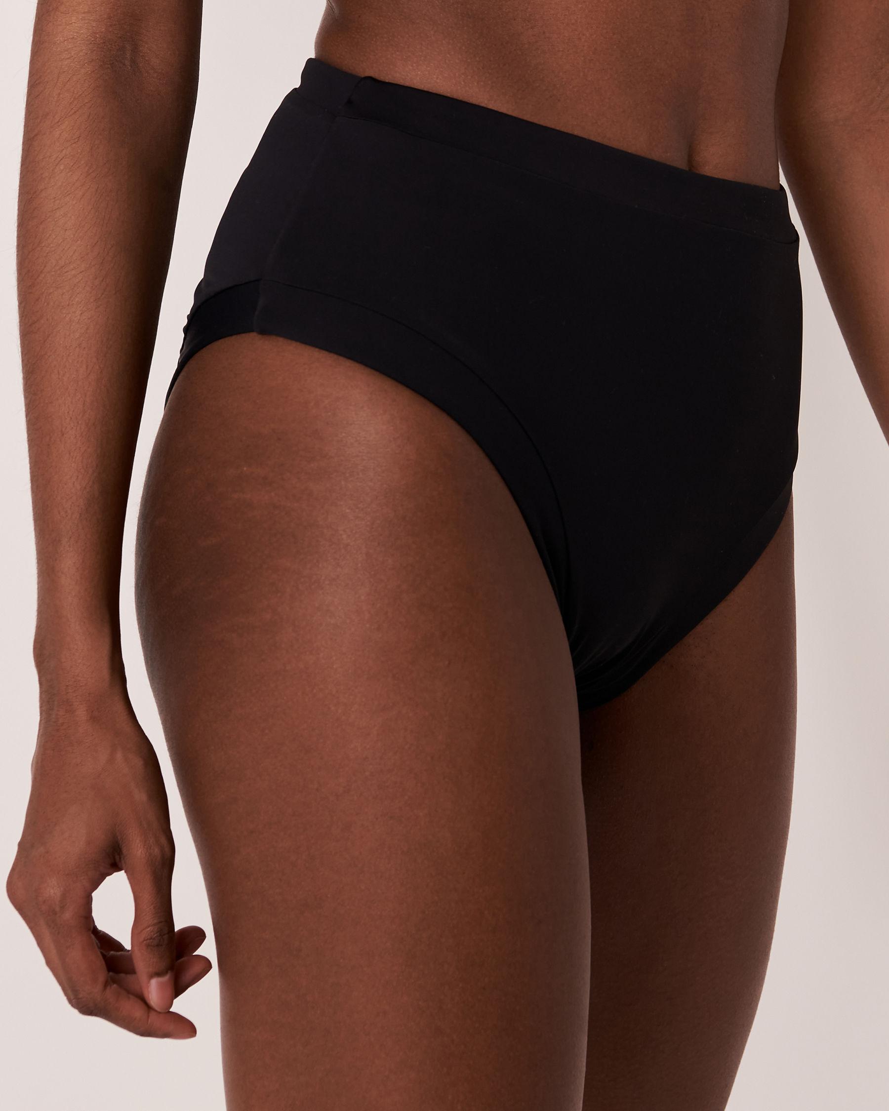 LA VIE EN ROSE AQUA SOLID High Waist Bikini Bottom Black 70300105 - View1