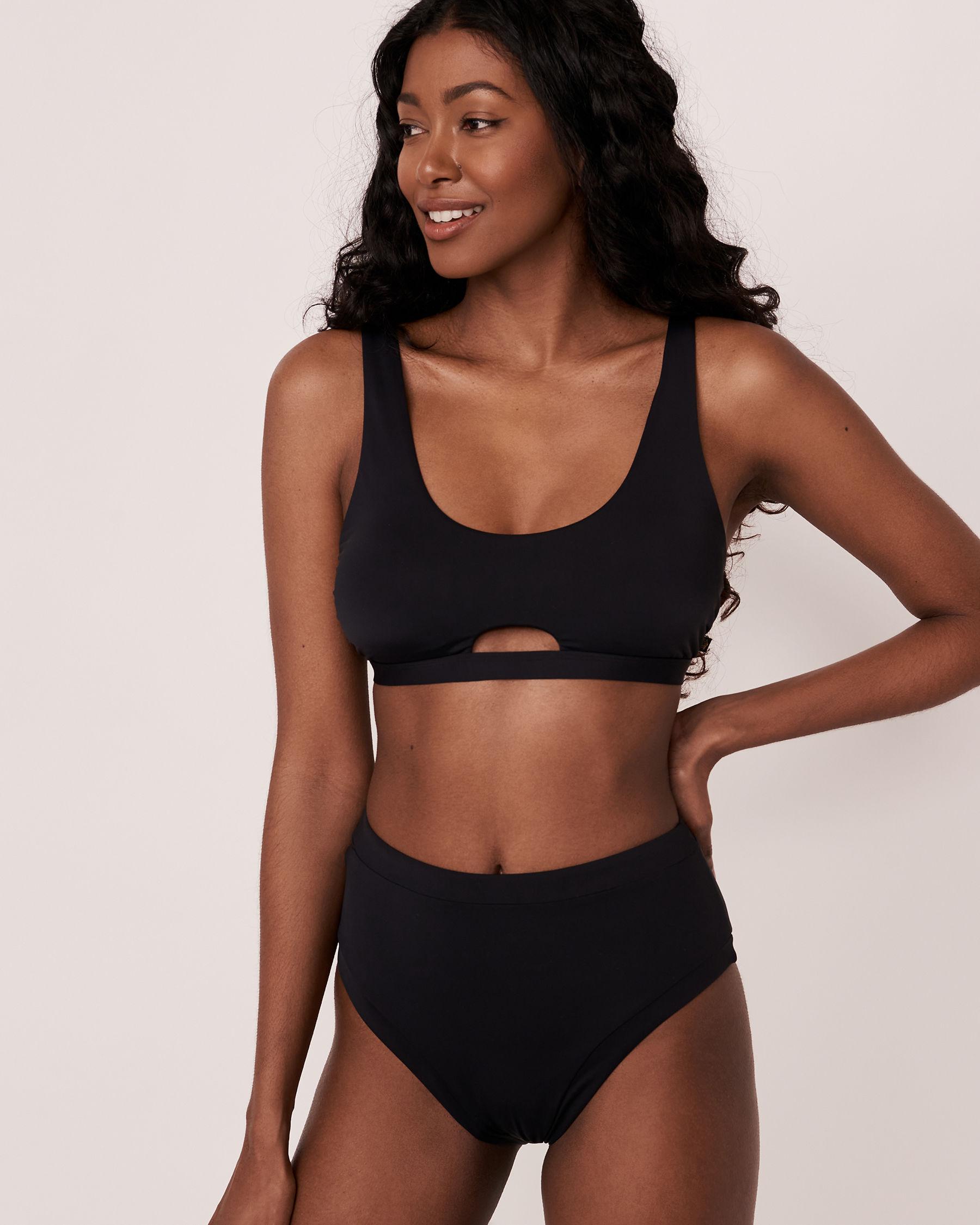 LA VIE EN ROSE AQUA SOLID High Waist Bikini Bottom Black 70300105 - View3