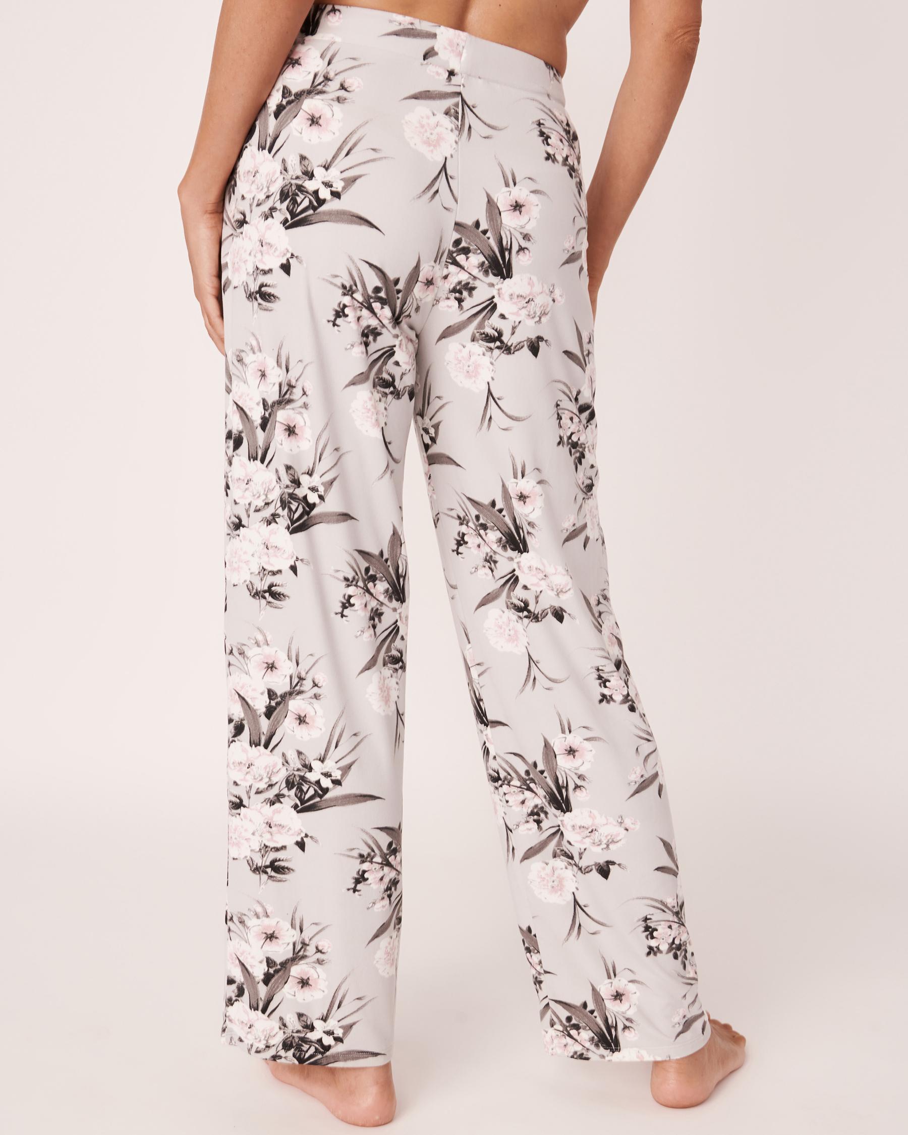 LA VIE EN ROSE Pantalon de pyjama jambe droite Bouquet gris 40200147 - Voir2