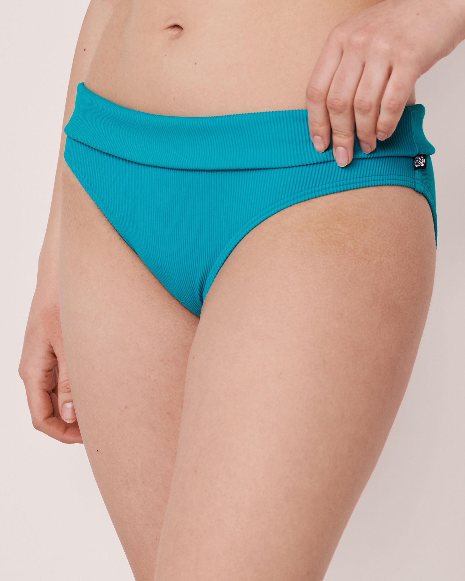LA VIE EN ROSE AQUA Bas de bikini bande de taille pliable en fibres recyclées TOOTSIE RIB Bleu 70300063 - Voir1