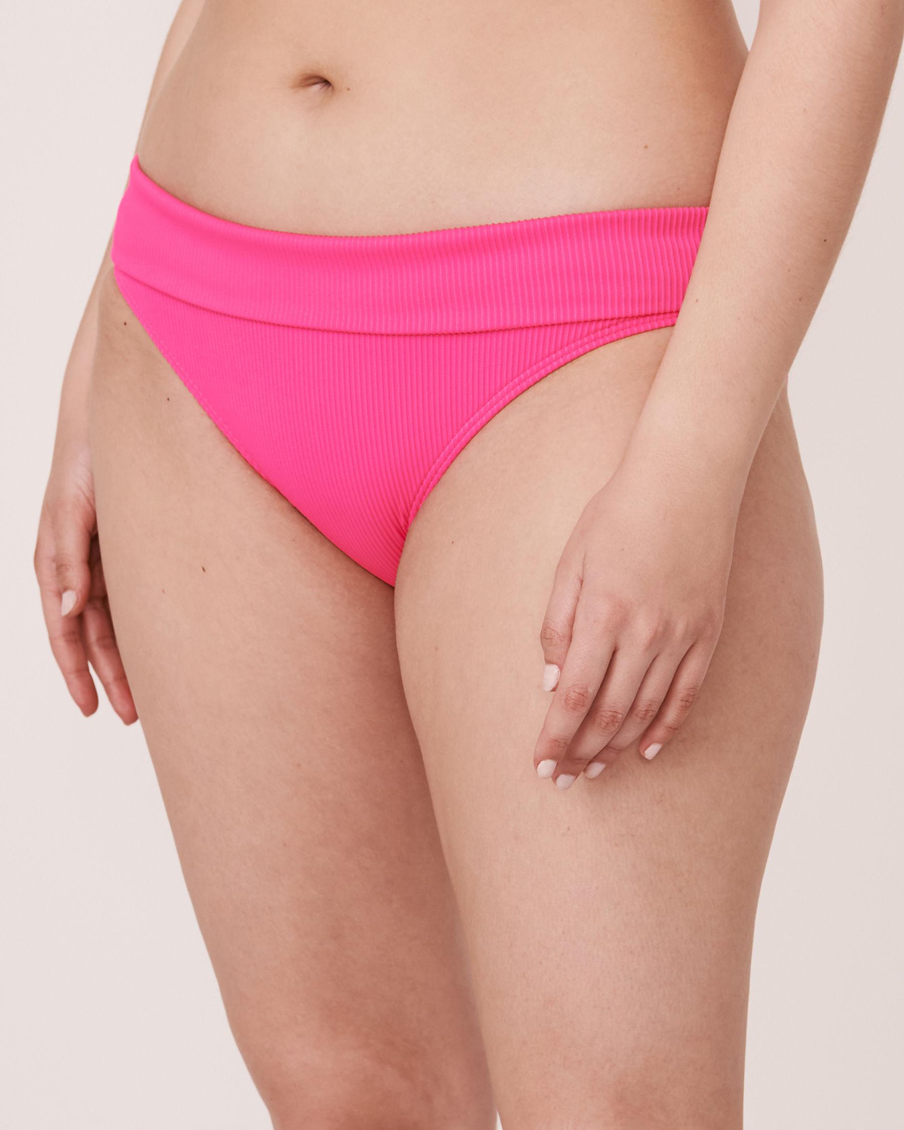 LA VIE EN ROSE AQUA Bas de bikini bande de taille pliable en fibres recyclées TOOTSIE RIB Rose néon 70300063 - Voir1