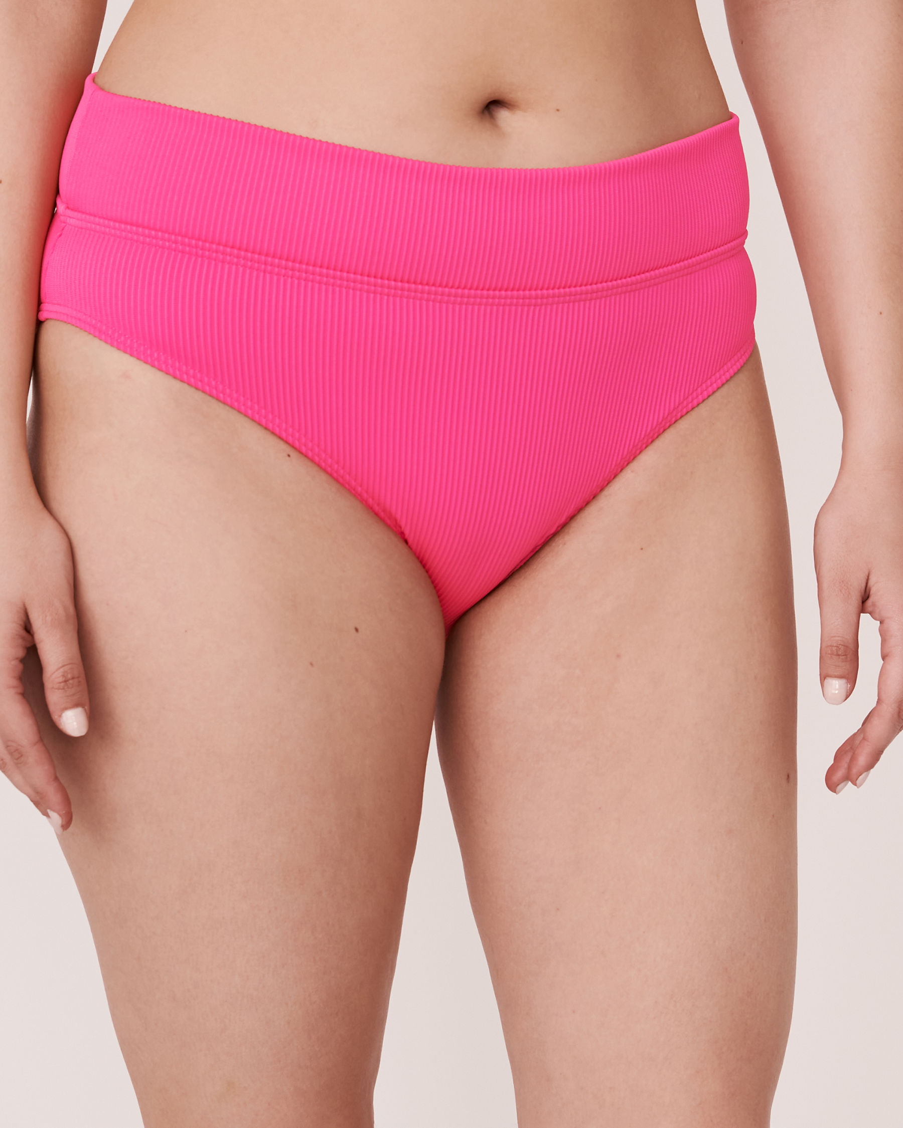 LA VIE EN ROSE AQUA Bas de bikini bande de taille pliable en fibres recyclées TOOTSIE RIB Rose néon 70300063 - Voir3