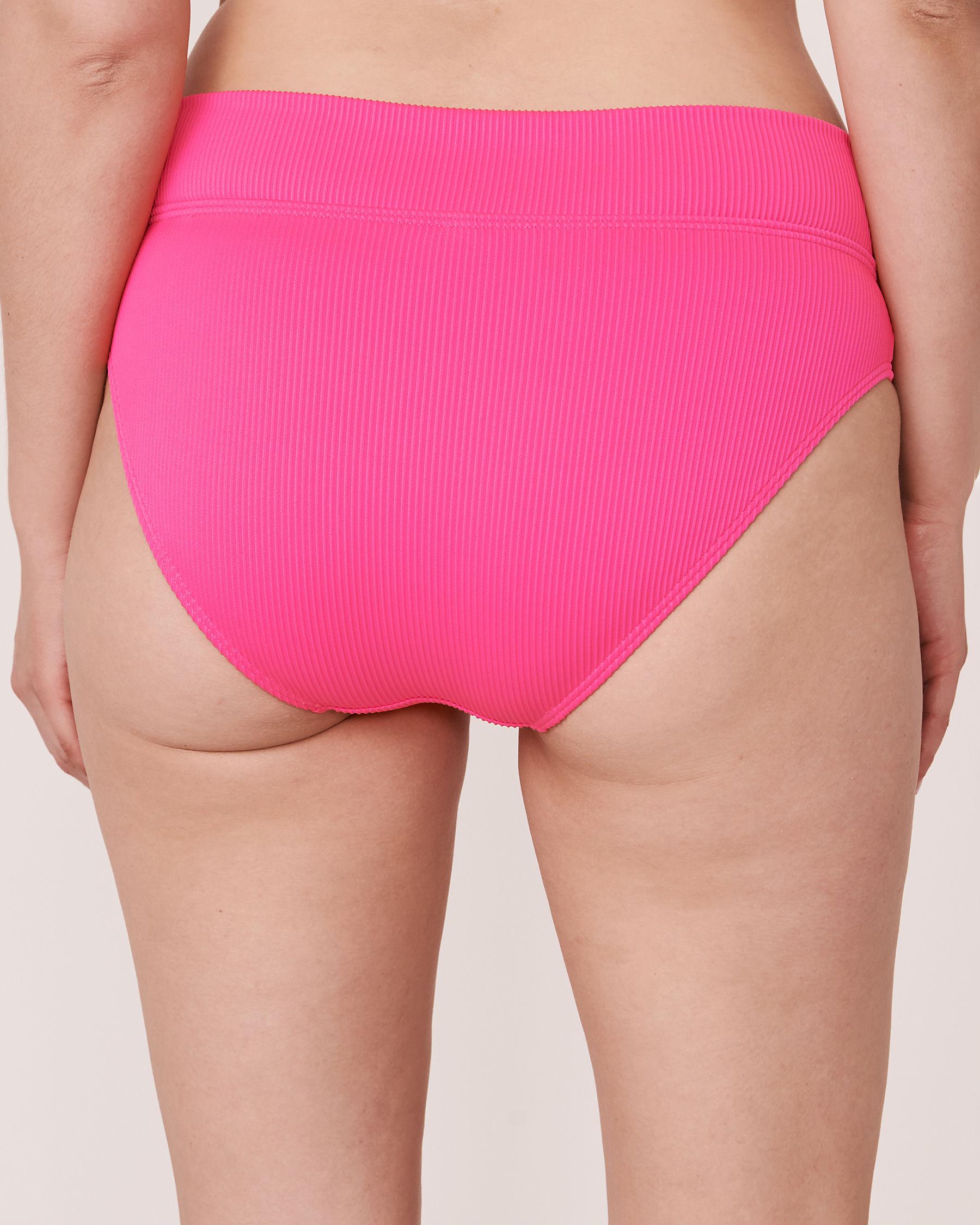 LA VIE EN ROSE AQUA Bas de bikini bande de taille pliable en fibres recyclées TOOTSIE RIB Rose néon 70300063 - Voir4
