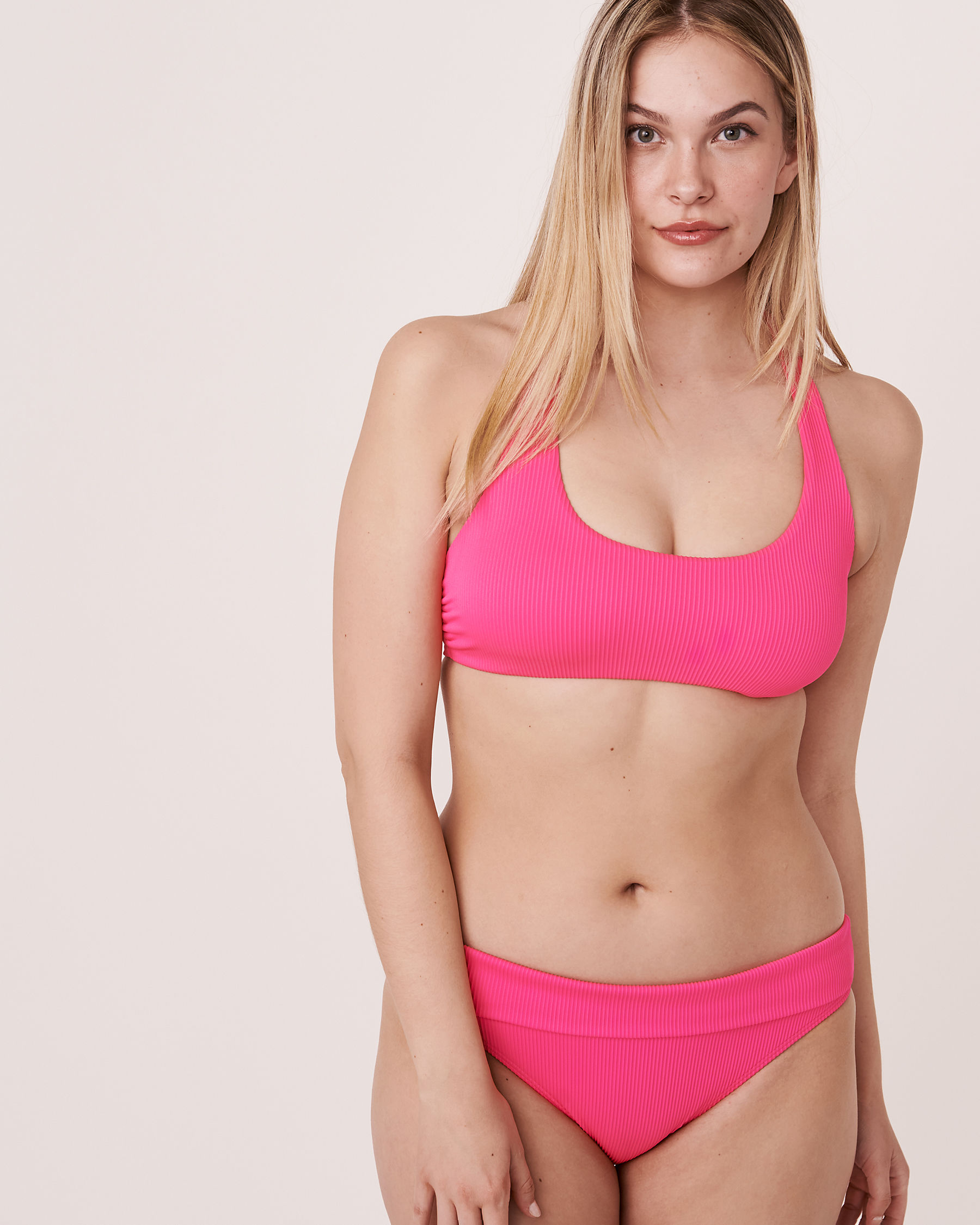 LA VIE EN ROSE AQUA Bas de bikini bande de taille pliable en fibres recyclées TOOTSIE RIB Rose néon 70300063 - Voir5