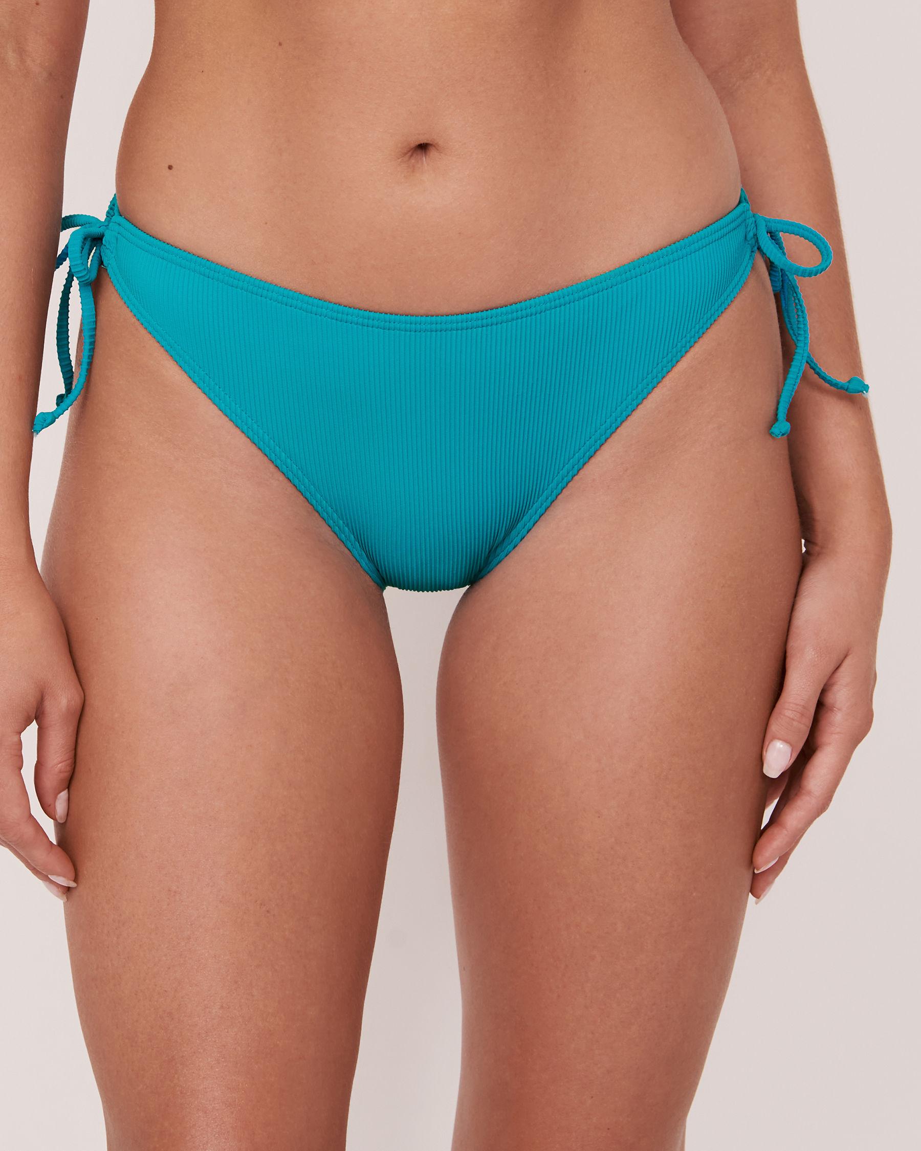 LA VIE EN ROSE AQUA Bas de bikini noué aux hanches en fibres recyclées TOOTSIE RIB Bleu 70300064 - Voir1