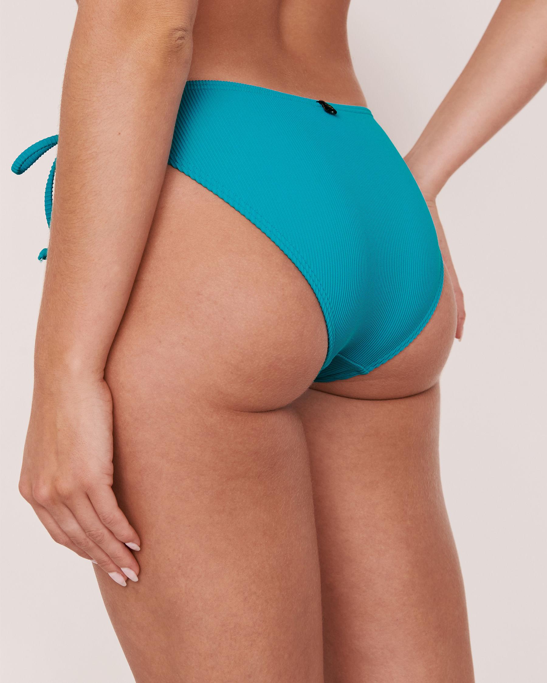 LA VIE EN ROSE AQUA Bas de bikini noué aux hanches en fibres recyclées TOOTSIE RIB Bleu 70300064 - Voir2