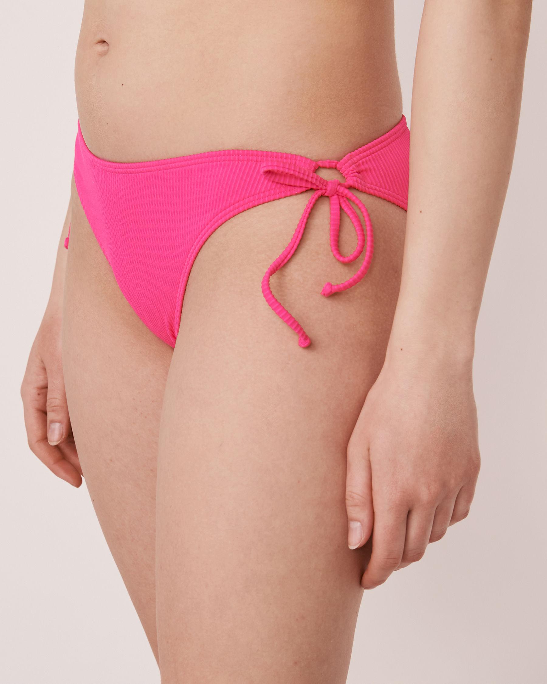 LA VIE EN ROSE AQUA Bas de bikini noué aux hanches en fibres recyclées TOOTSIE RIB Rose néon 70300064 - Voir1