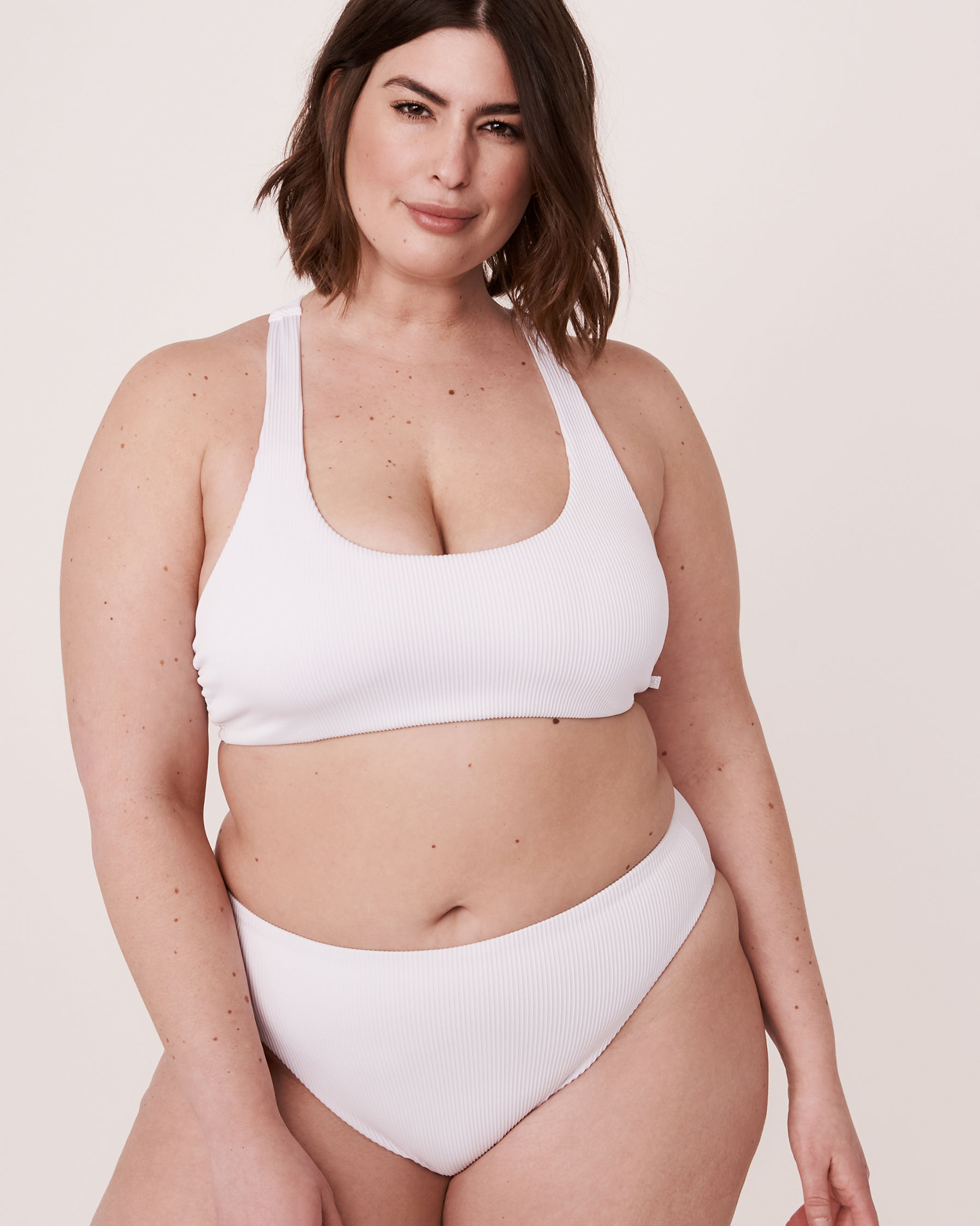 LA VIE EN ROSE AQUA Bas de bikini tanga taille haute en fibres recyclées WHITE RIB Blanc 70300083 - Voir6
