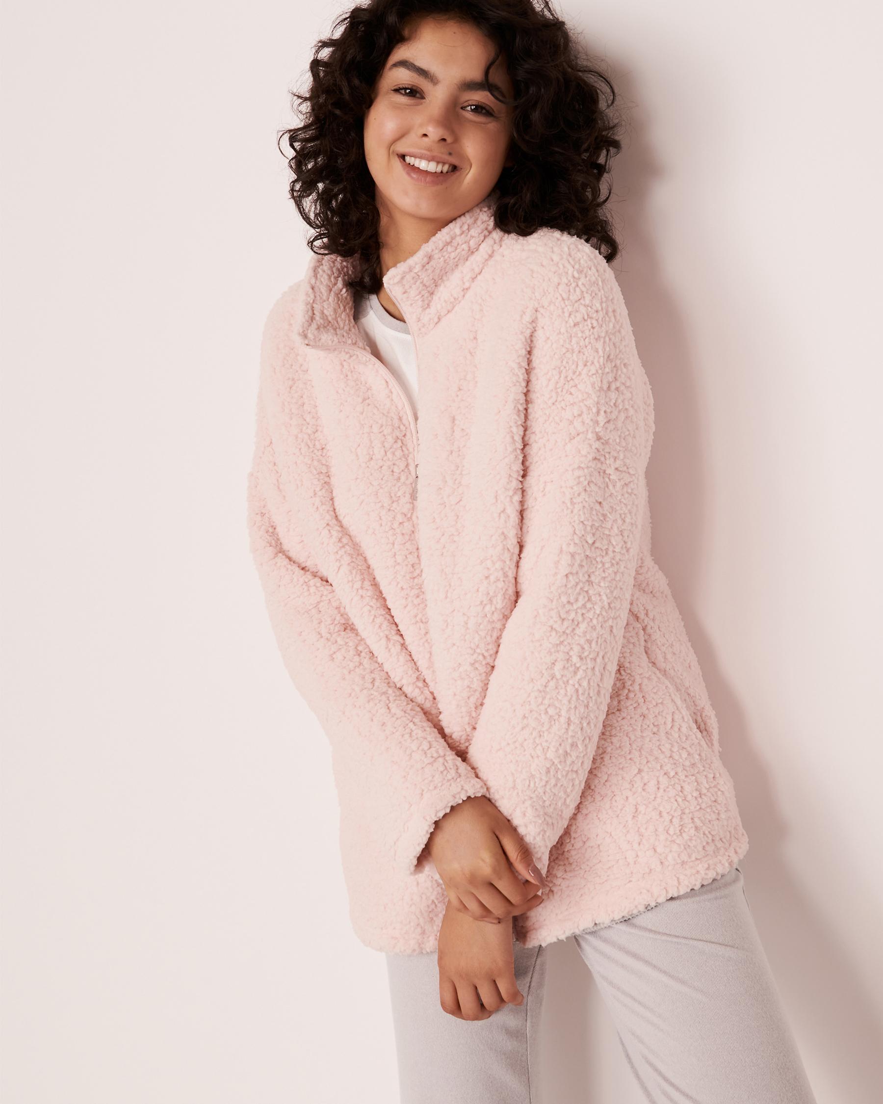 LA VIE EN ROSE Sherpa Zip-up Sweatshirt Light pink 40600038 - View3