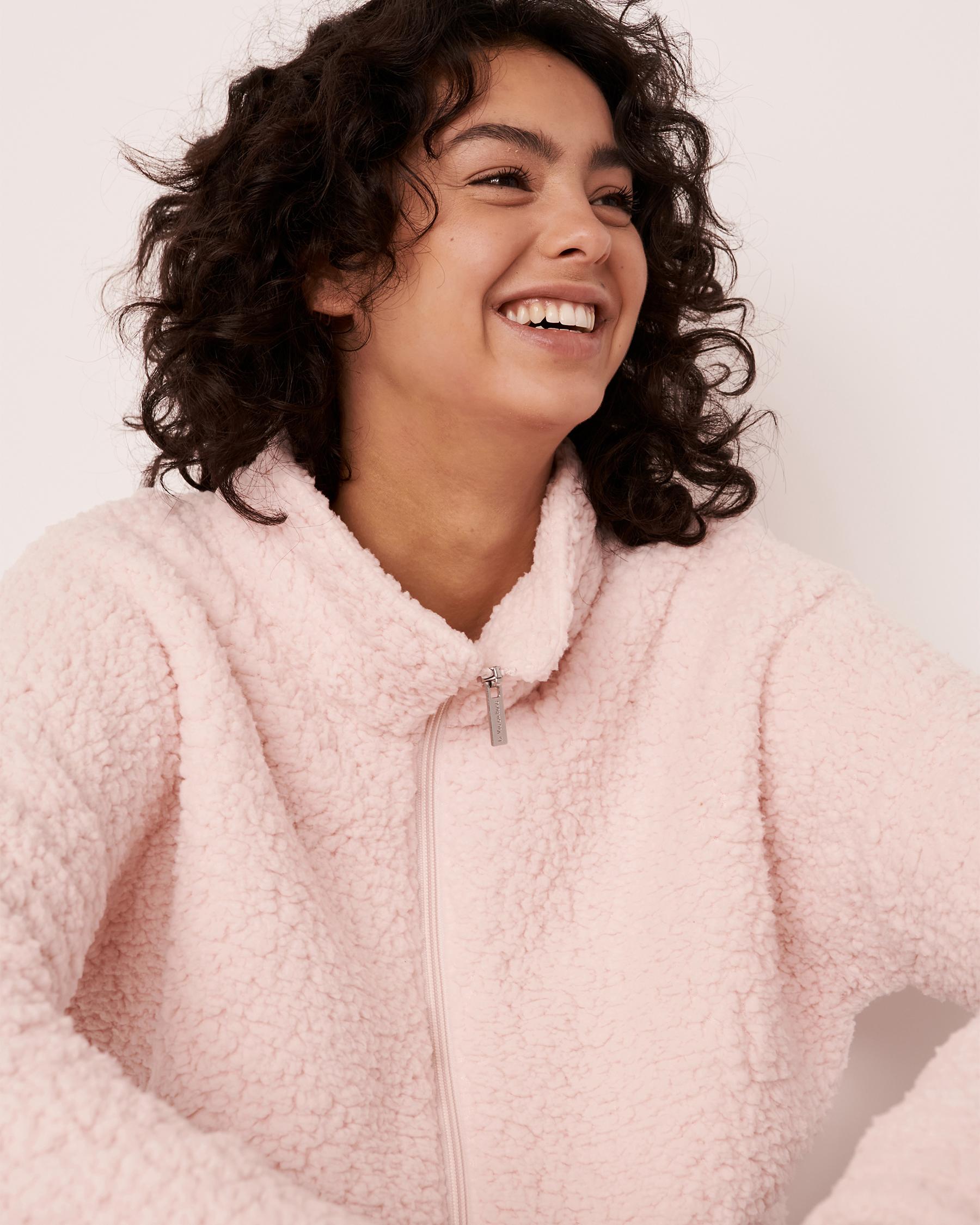 LA VIE EN ROSE Sherpa Zip-up Sweatshirt Light pink 40600038 - View4