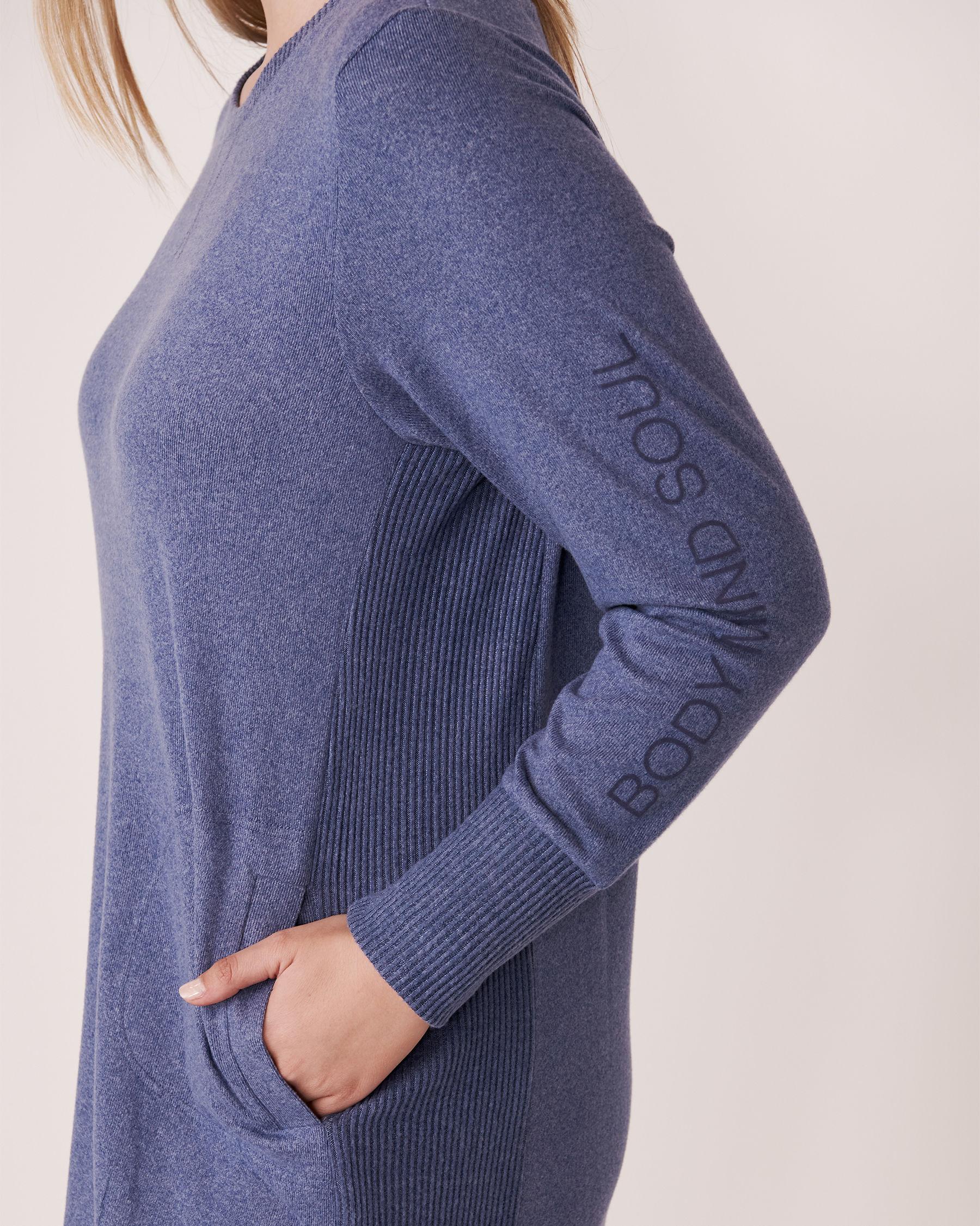 LA VIE EN ROSE Robe manches longues en tricot doux Mélange bleu jeans 50400006 - Voir3