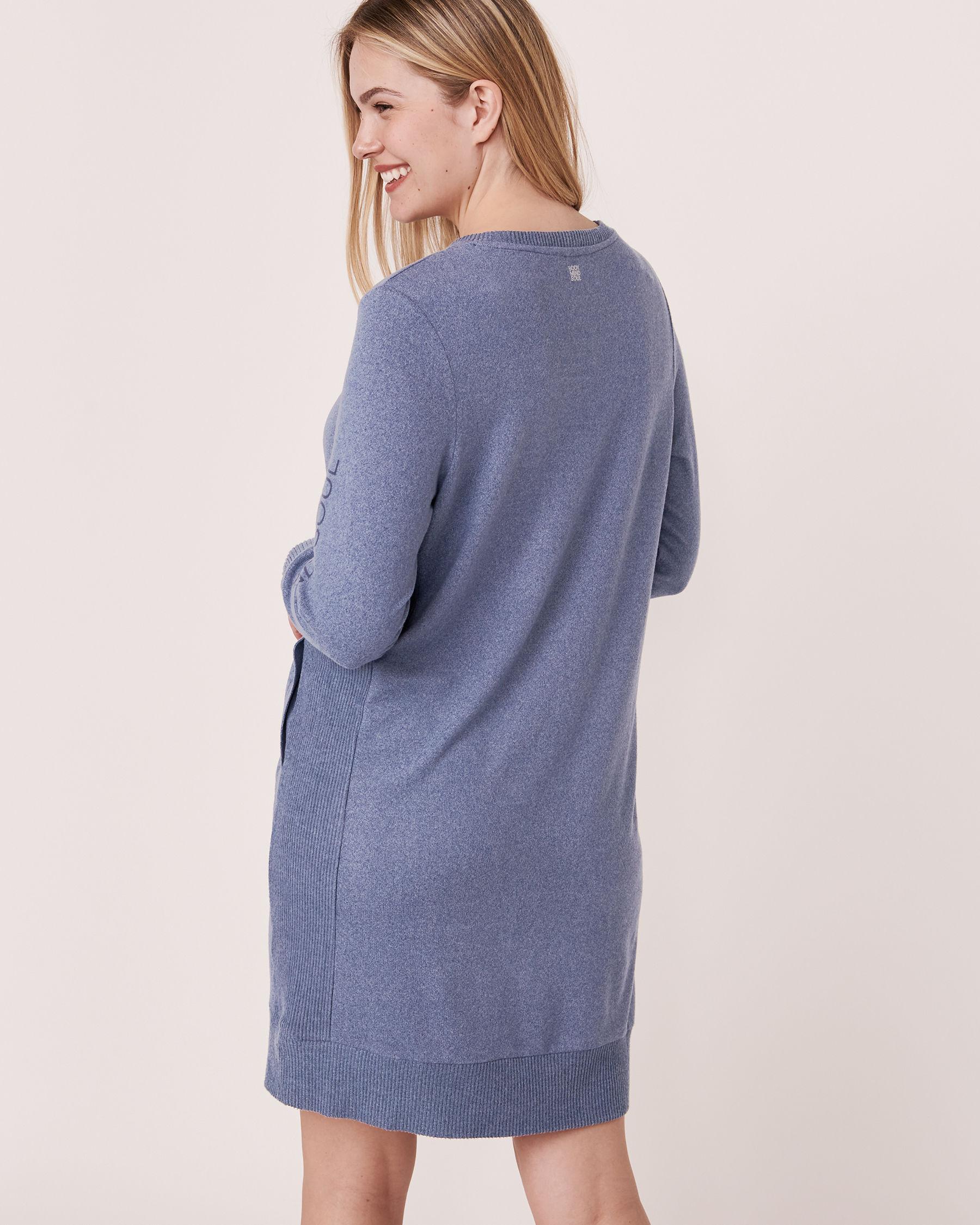 LA VIE EN ROSE Robe manches longues en tricot doux Mélange bleu jeans 50400006 - Voir4