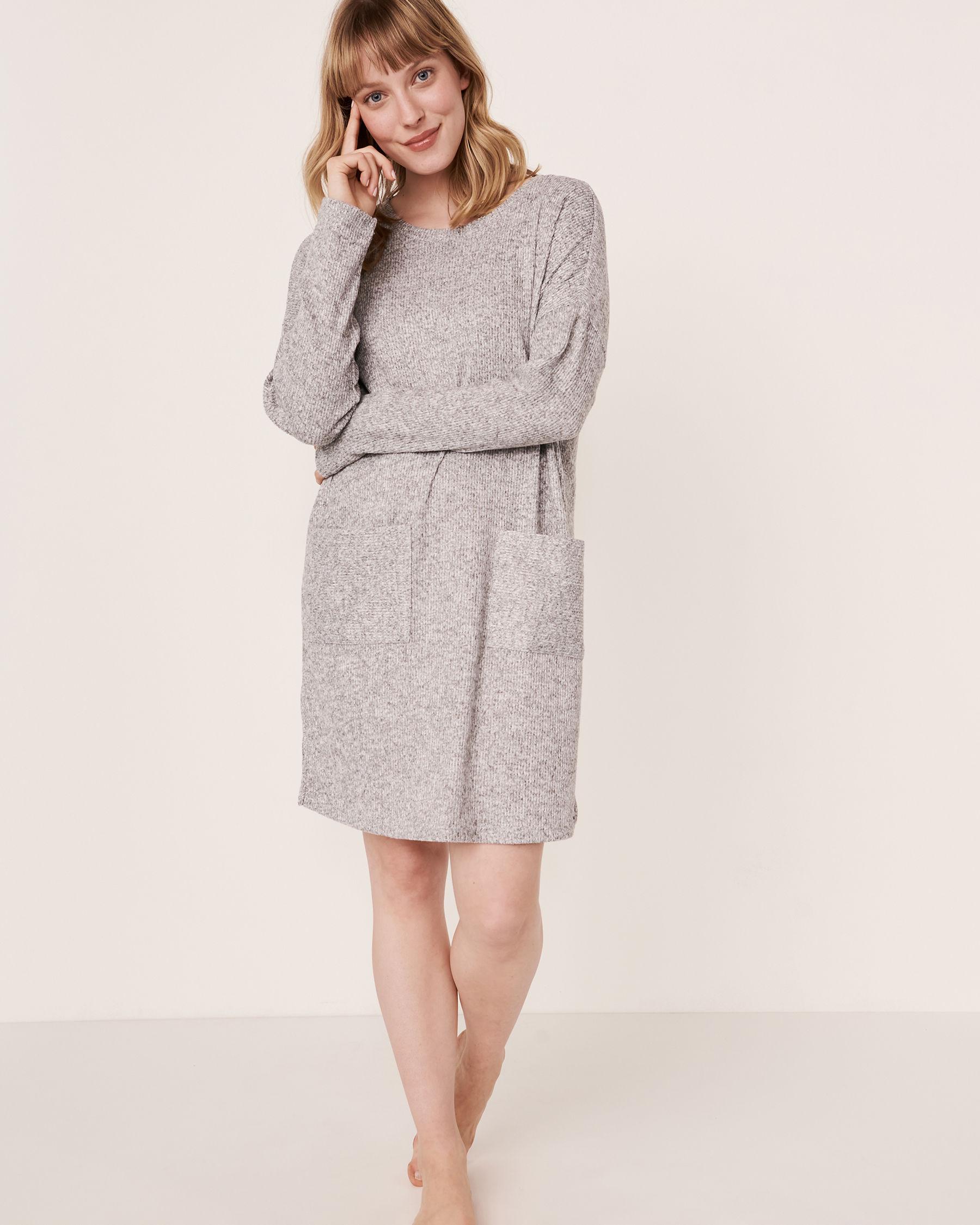 LA VIE EN ROSE Ribbed Long Sleeve Dress Grey 50400008 - View1