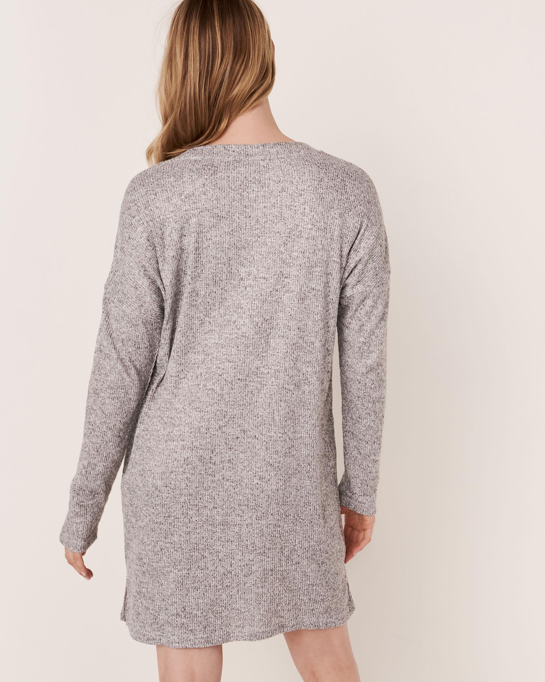 LA VIE EN ROSE Ribbed Long Sleeve Dress Grey 50400008 - View2