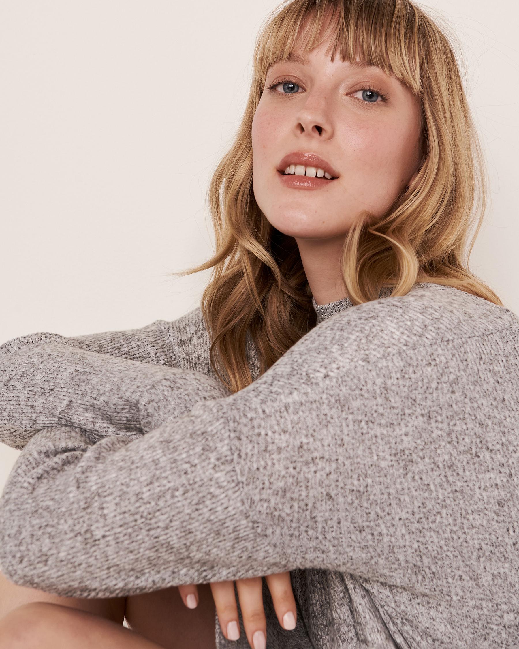 LA VIE EN ROSE Ribbed Long Sleeve Dress Grey 50400008 - View3