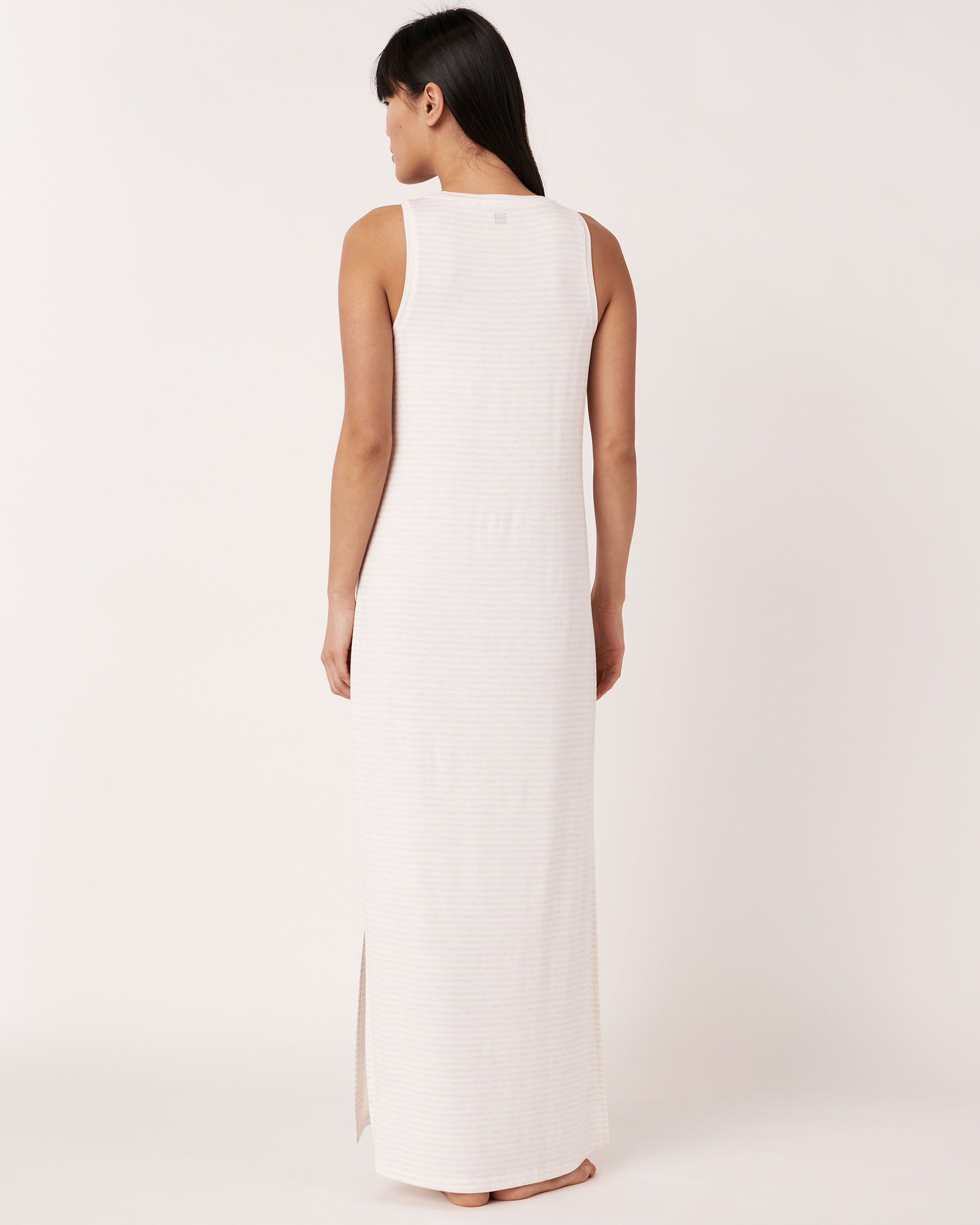 LA VIE EN ROSE Sleeveless Maxi Dress Grey and white stripes 50400001 - View4