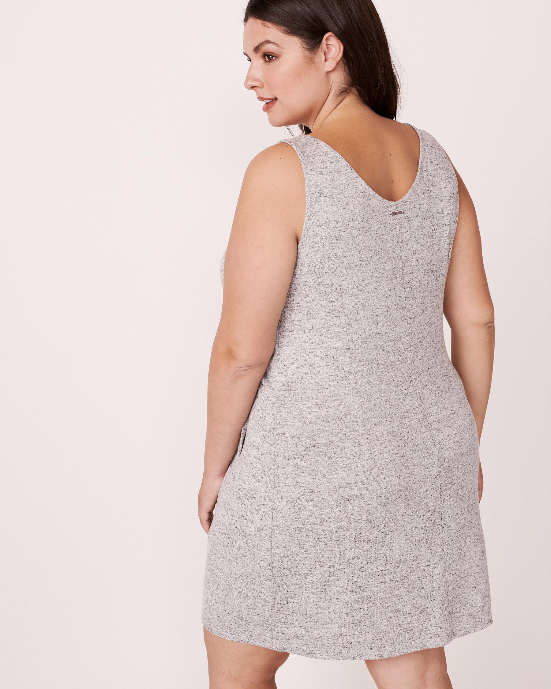 LA VIE EN ROSE Knotted V-neckline Sleeveless Dress Grey 766-474-0-11 - View2