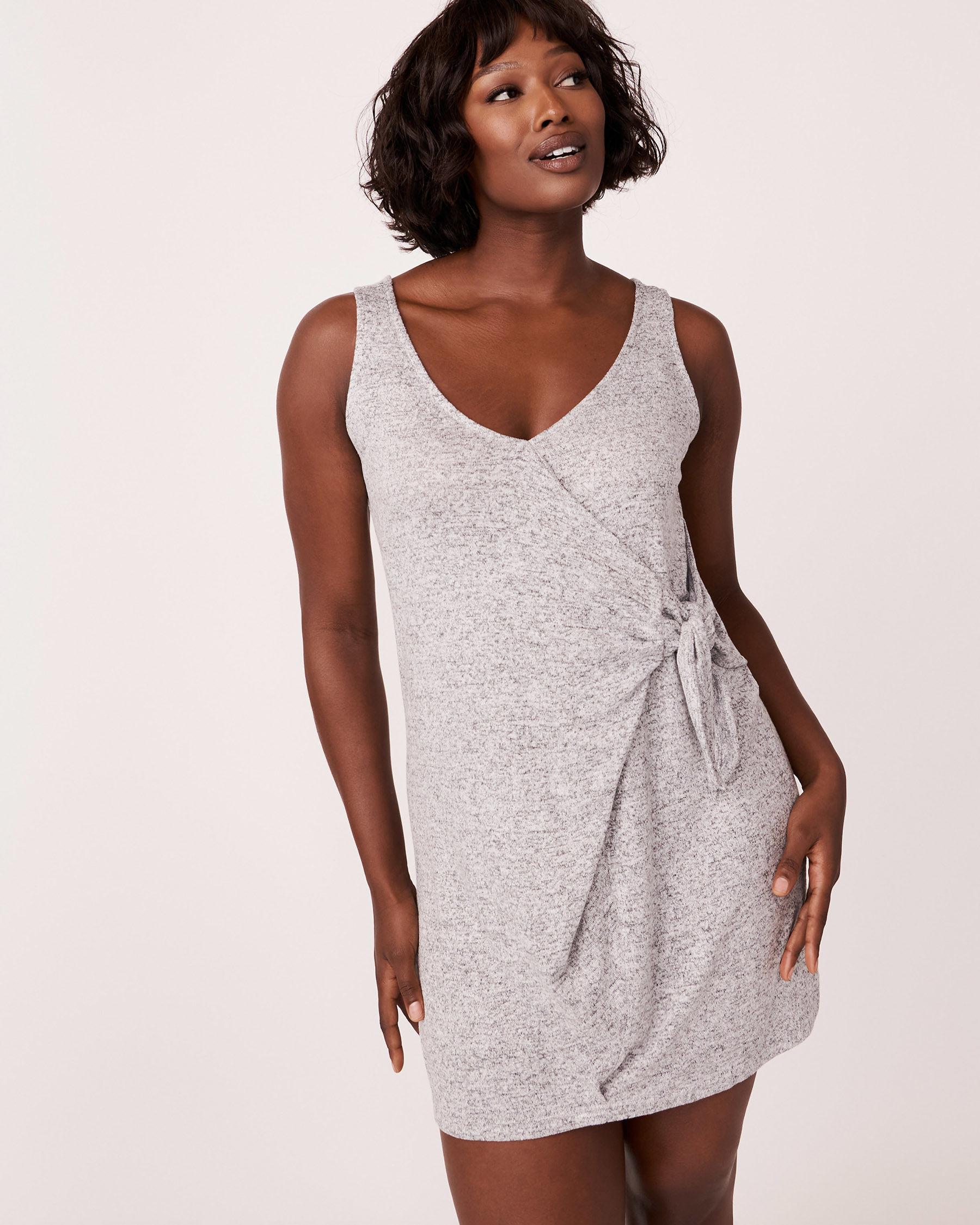 LA VIE EN ROSE Knotted V-neckline Sleeveless Dress Grey 766-474-0-11 - View4