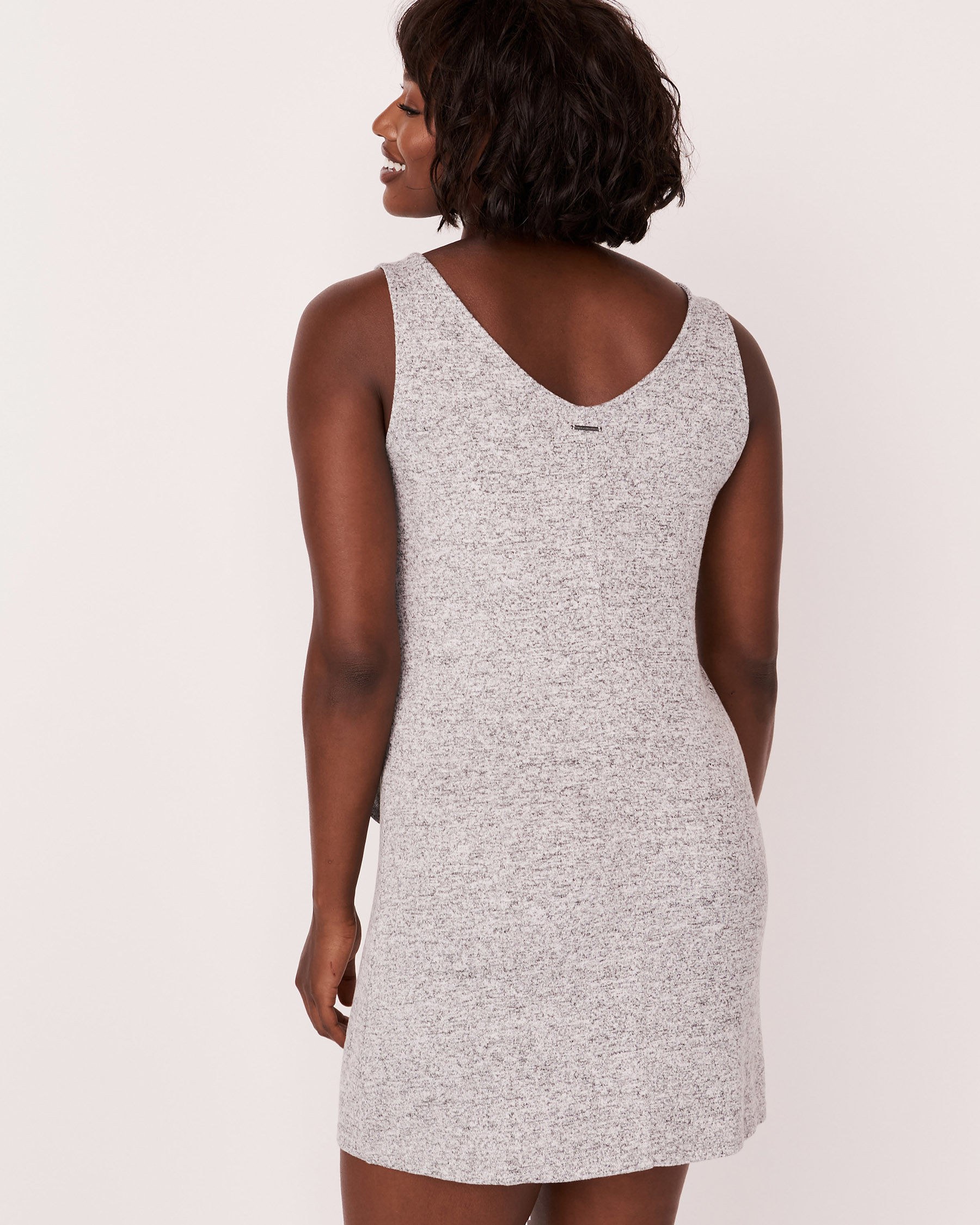 LA VIE EN ROSE Knotted V-neckline Sleeveless Dress Grey 766-474-0-11 - View5