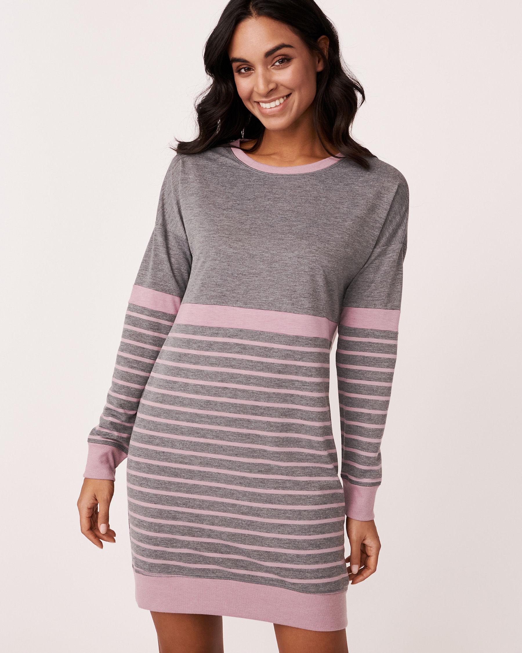 LA VIE EN ROSE Long Sleeve Striped Dress Grey and pink mix 768-374-0-11 - View1
