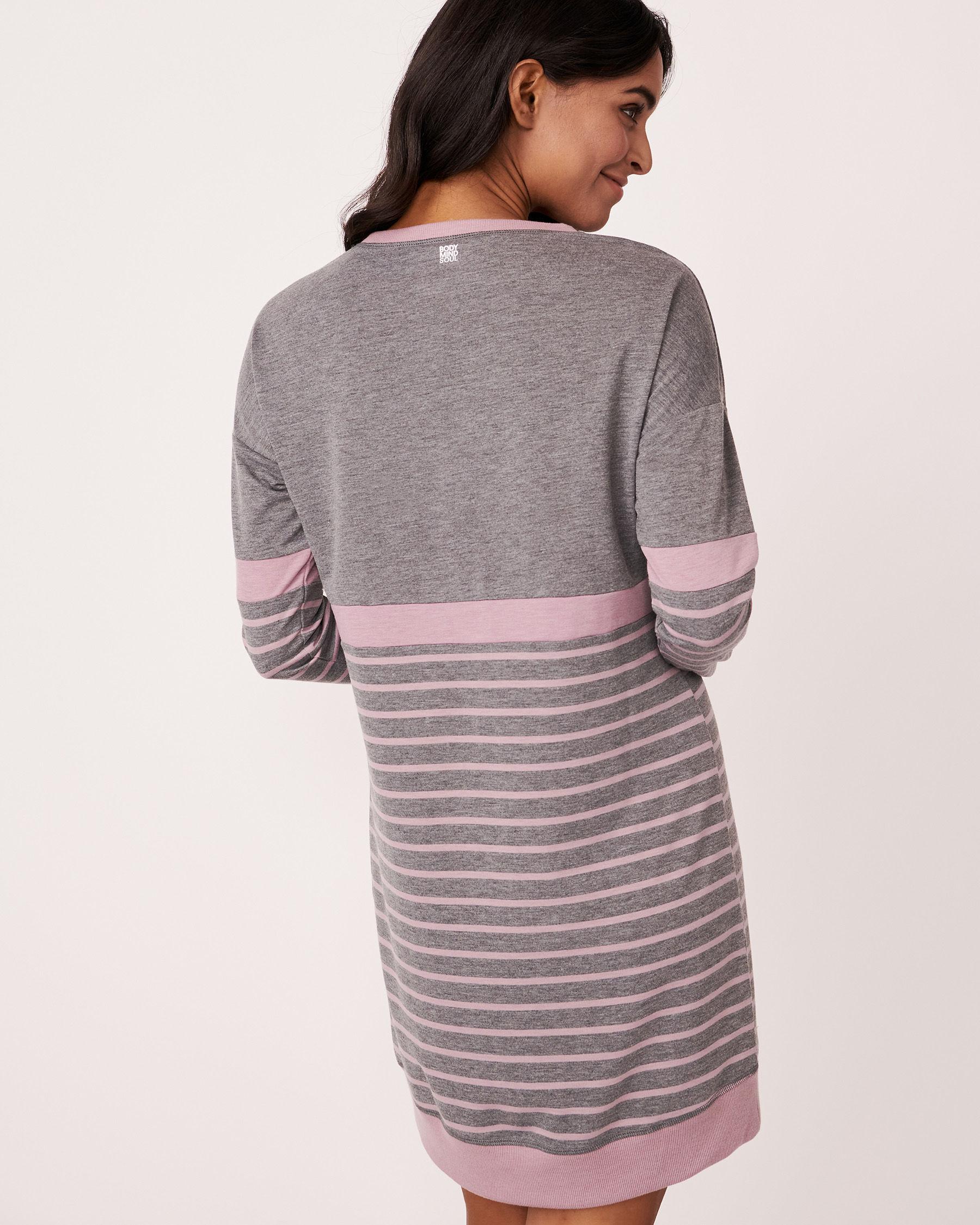 LA VIE EN ROSE Long Sleeve Striped Dress Grey and pink mix 768-374-0-11 - View2