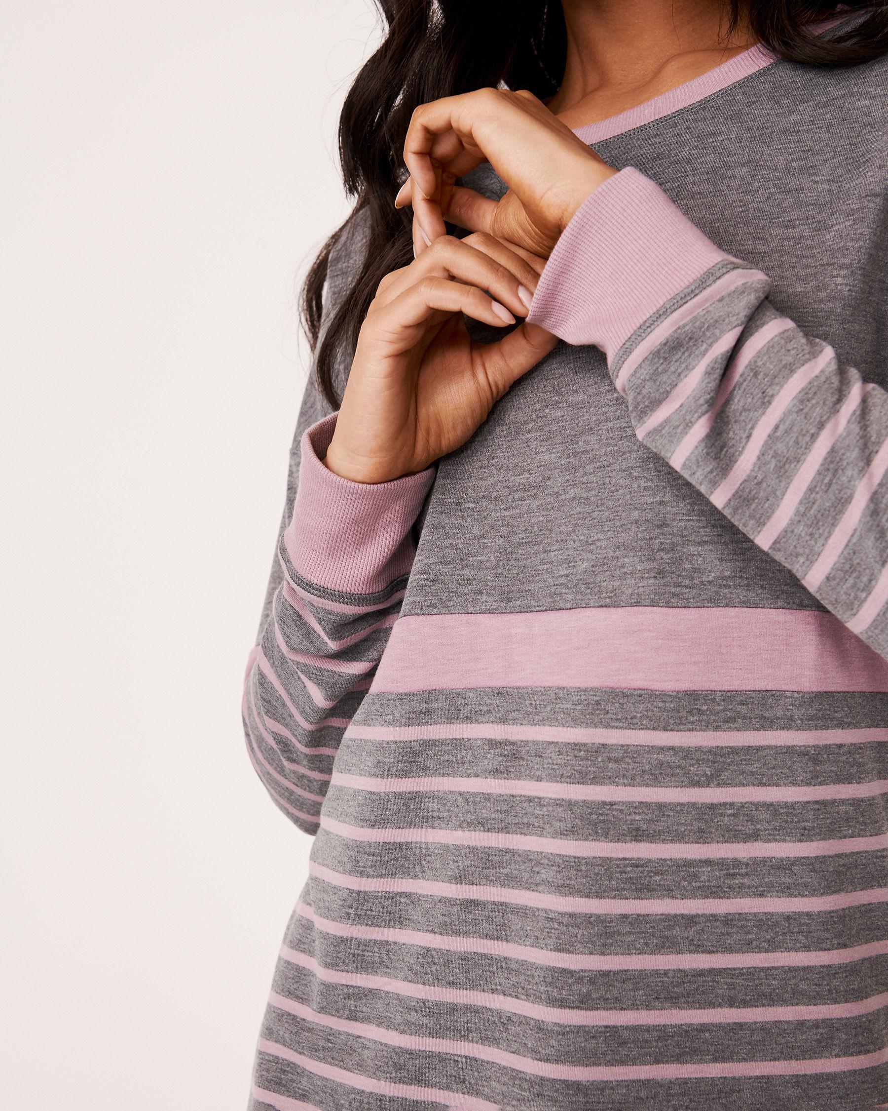 LA VIE EN ROSE Long Sleeve Striped Dress Grey and pink mix 768-374-0-11 - View3