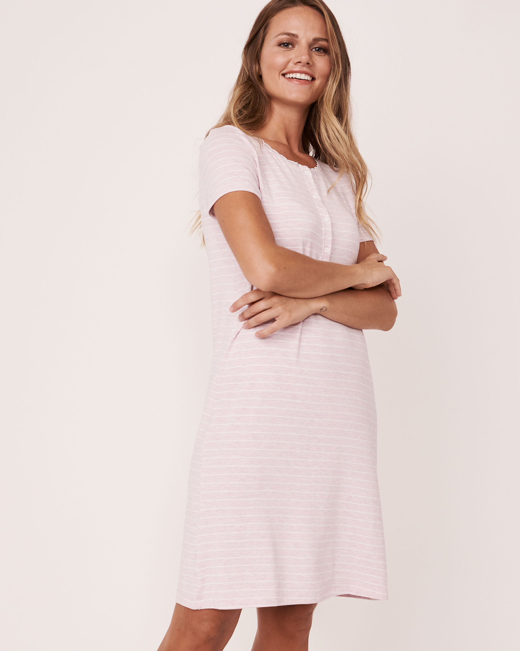 LA VIE EN ROSE Henley Sleepshirt Stripes 50400004 - View1