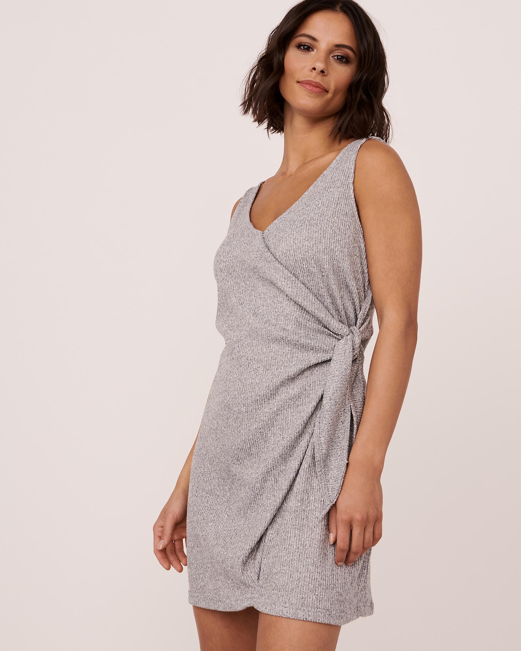 LA VIE EN ROSE Ribbed V-neckline Dress Grey 774-474-0-04 - View1