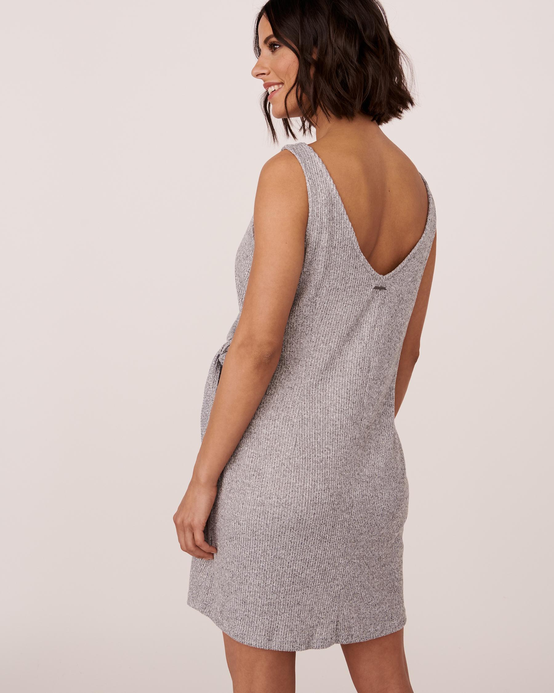 LA VIE EN ROSE Ribbed V-neckline Dress Grey 774-474-0-04 - View2