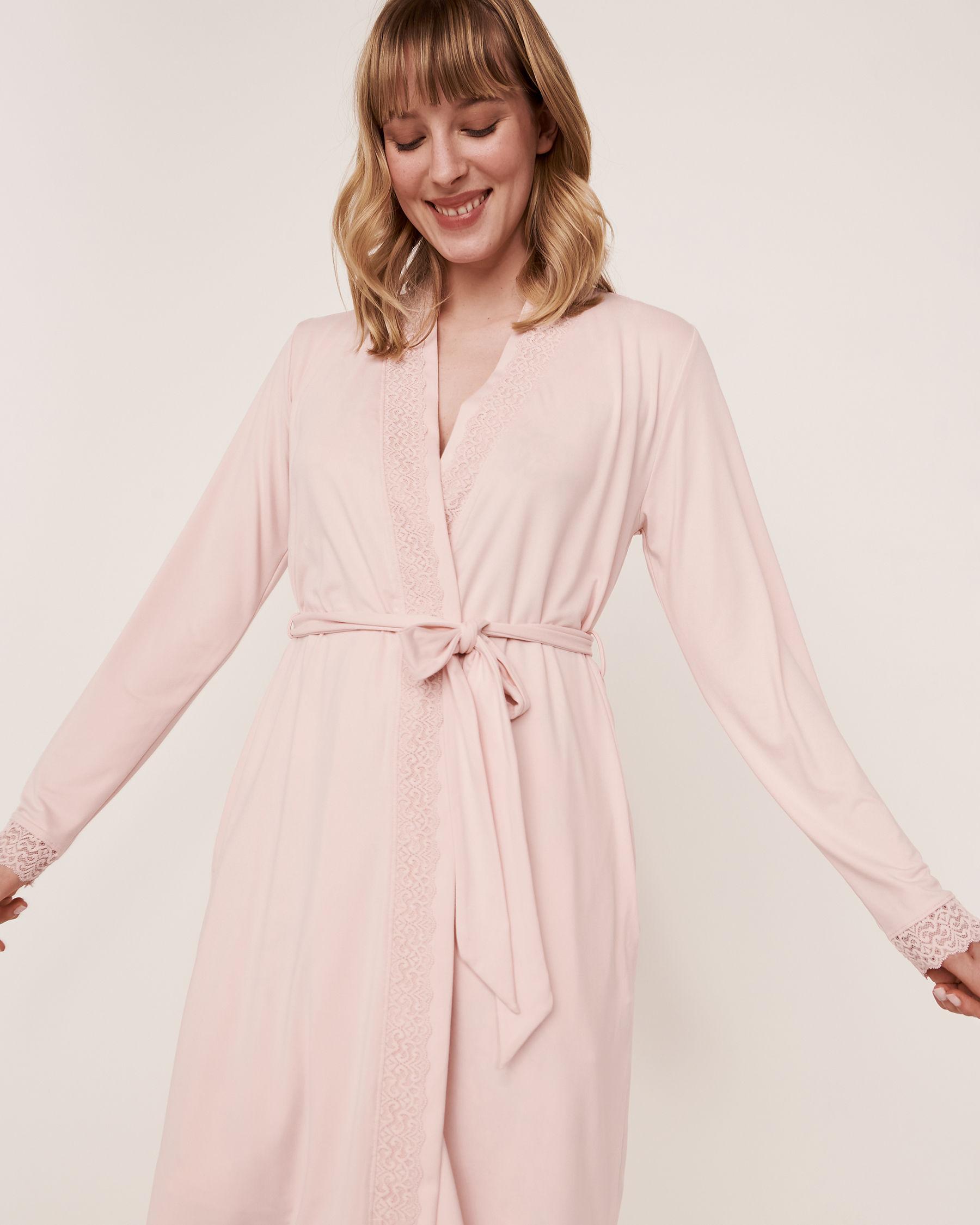 LA VIE EN ROSE Kimono garniture de dentelle Rose pâle 40600018 - Voir1
