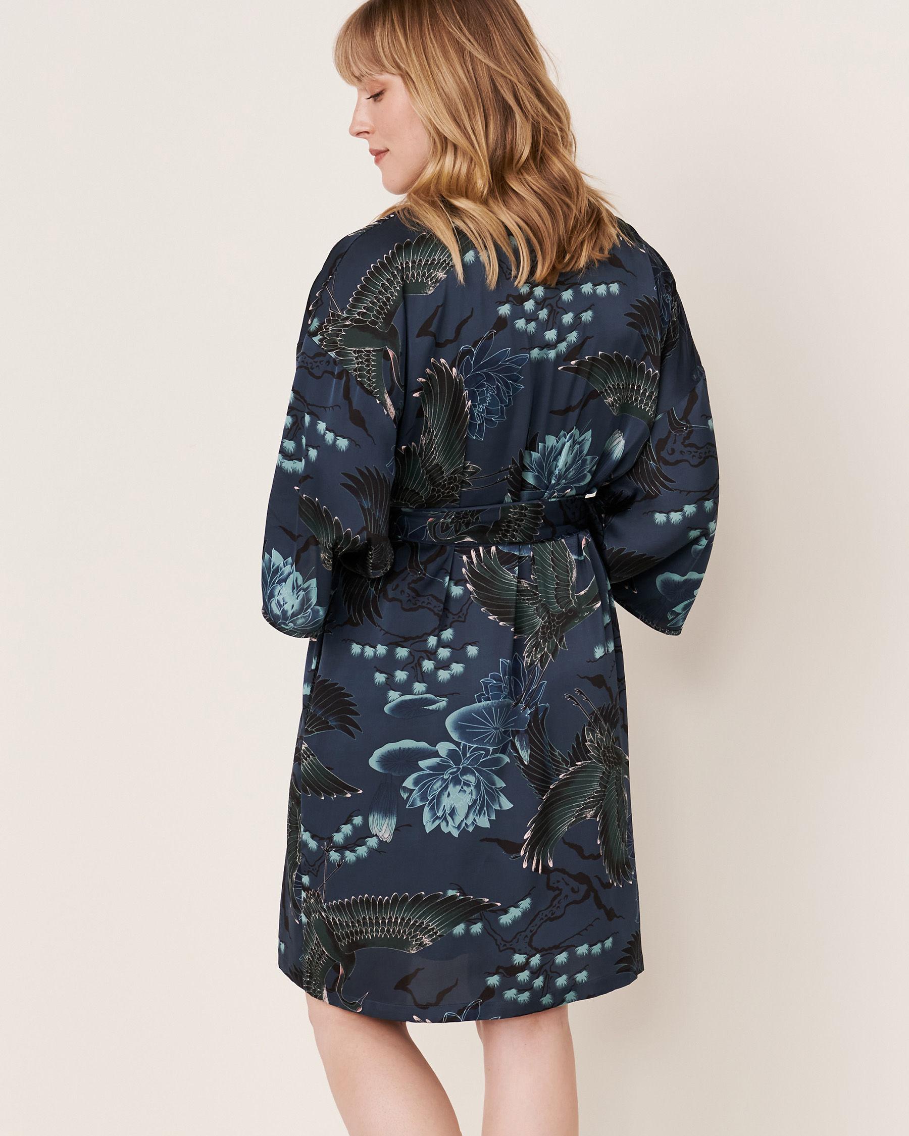 LA VIE EN ROSE Satin Kimono Bird 40600019 - View2
