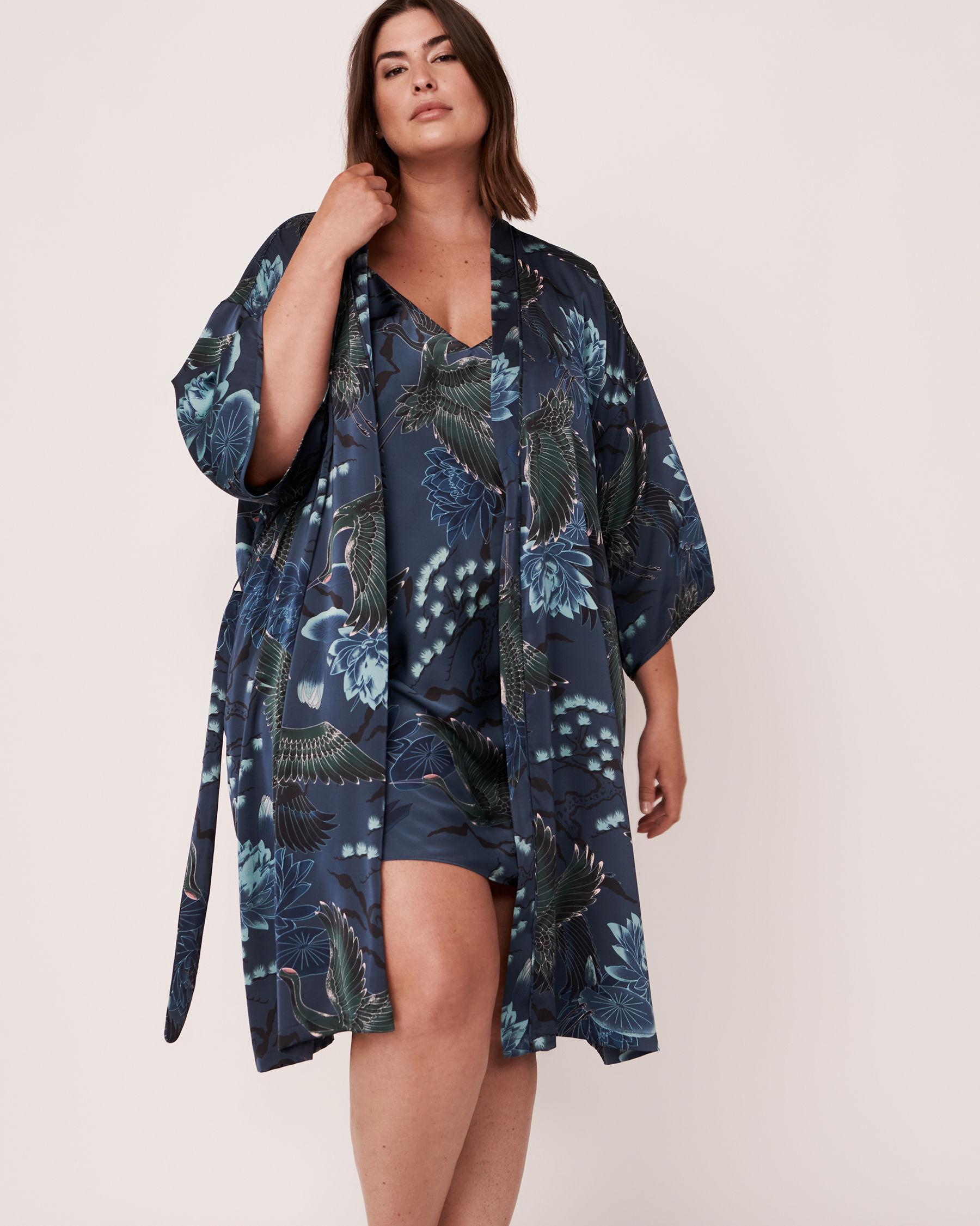 LA VIE EN ROSE Satin Kimono Bird 40600019 - View4