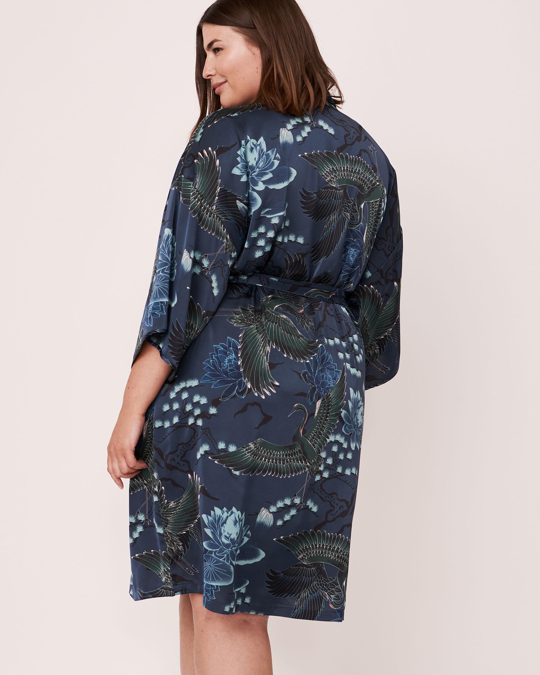 LA VIE EN ROSE Satin Kimono Bird 40600019 - View6