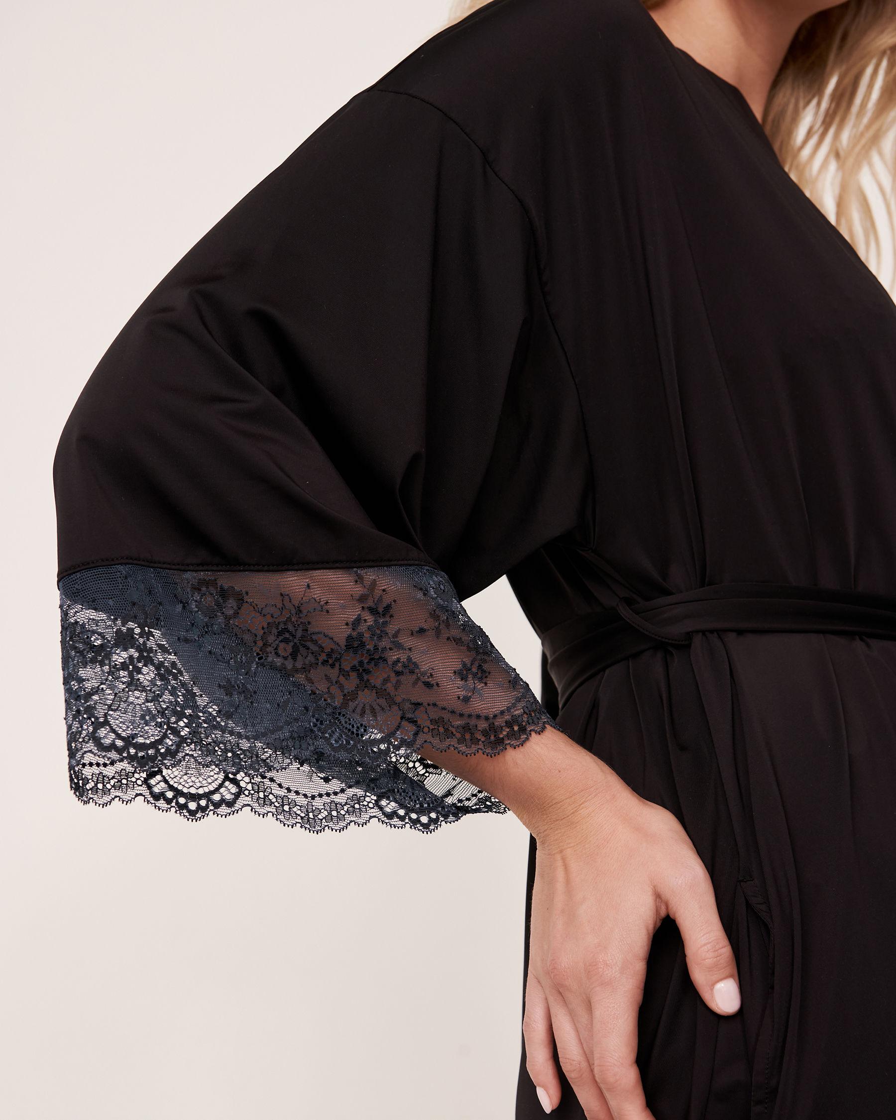 LA VIE EN ROSE Lace Trim Kimono Black 60600005 - View2