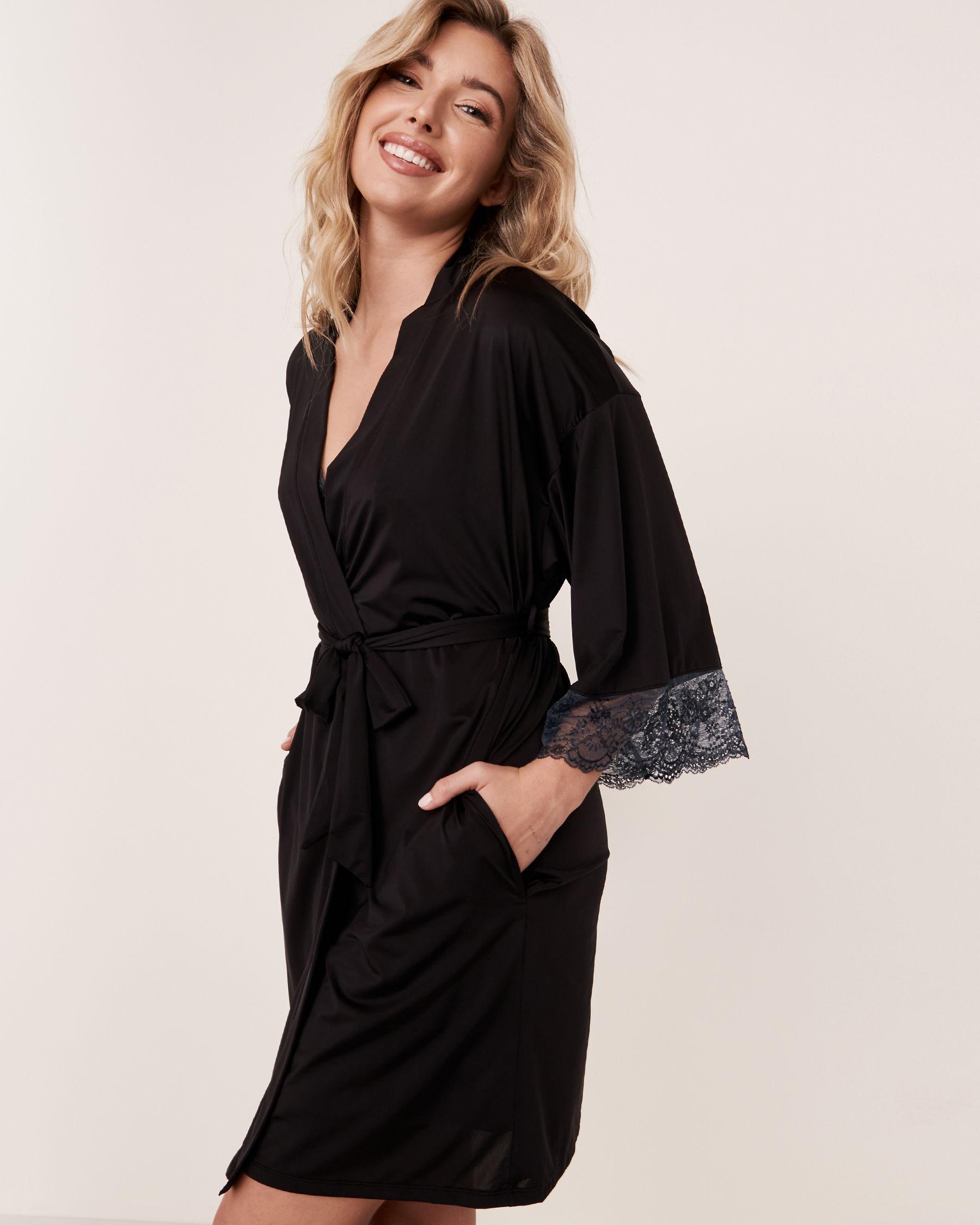 LA VIE EN ROSE Lace Trim Kimono Black 60600005 - View4