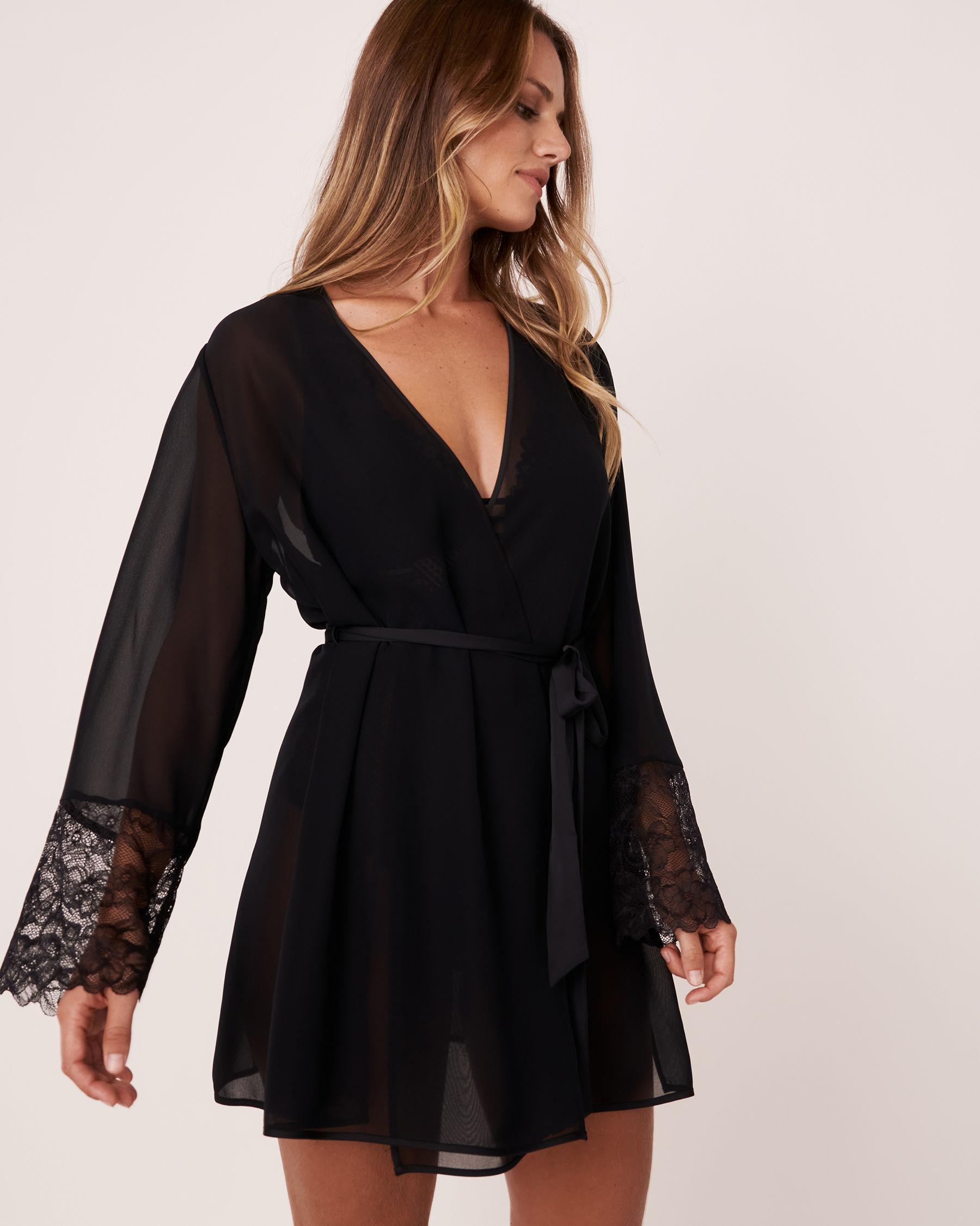 LA VIE EN ROSE Lace Trim Kimono Black 60600006 - View1