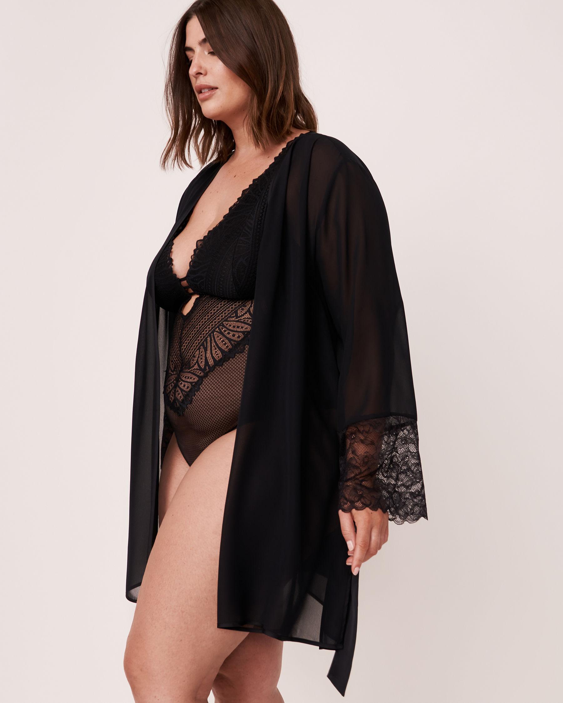 LA VIE EN ROSE Lace Trim Kimono Black 60600006 - View4