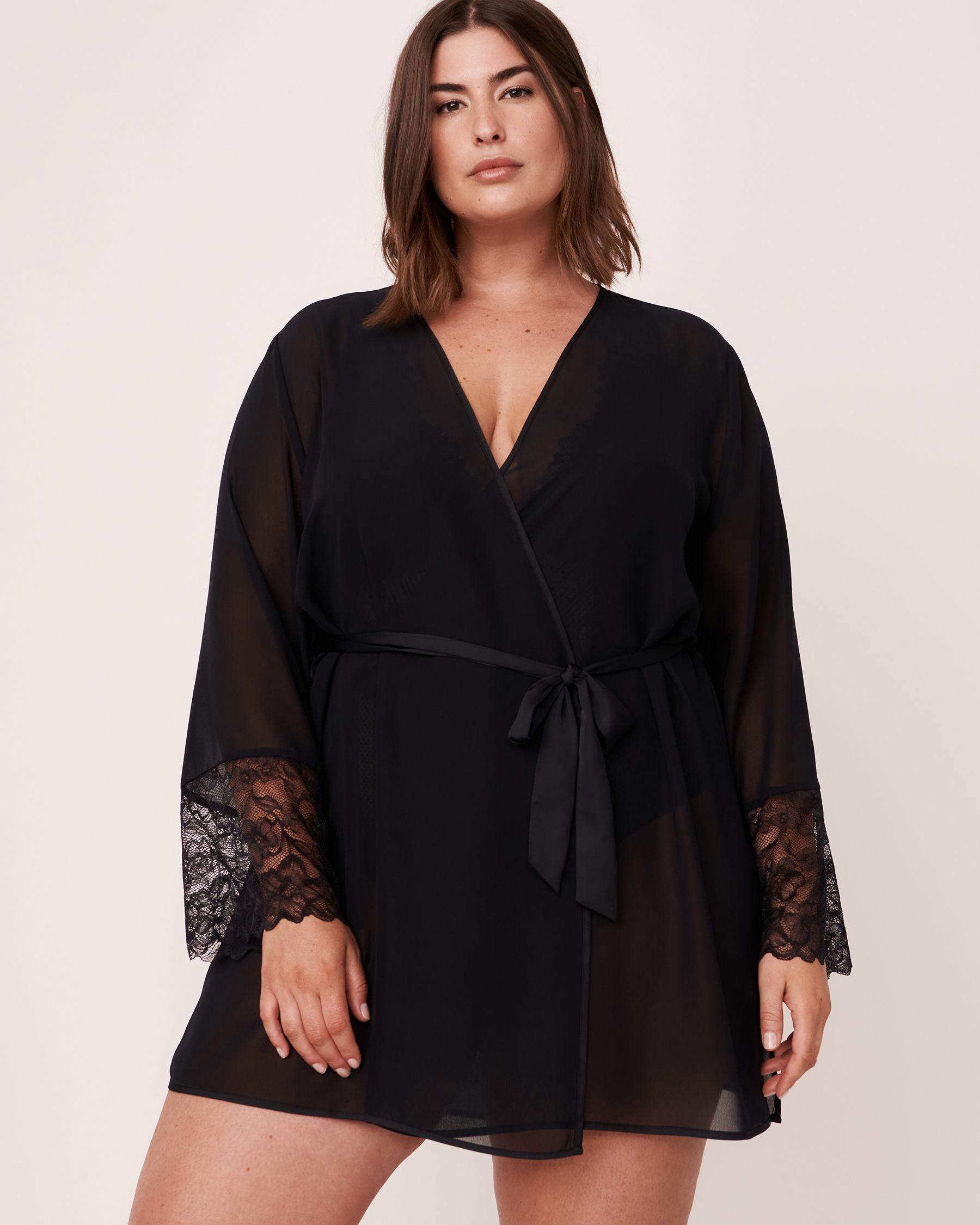 LA VIE EN ROSE Lace Trim Kimono Black 60600006 - View5
