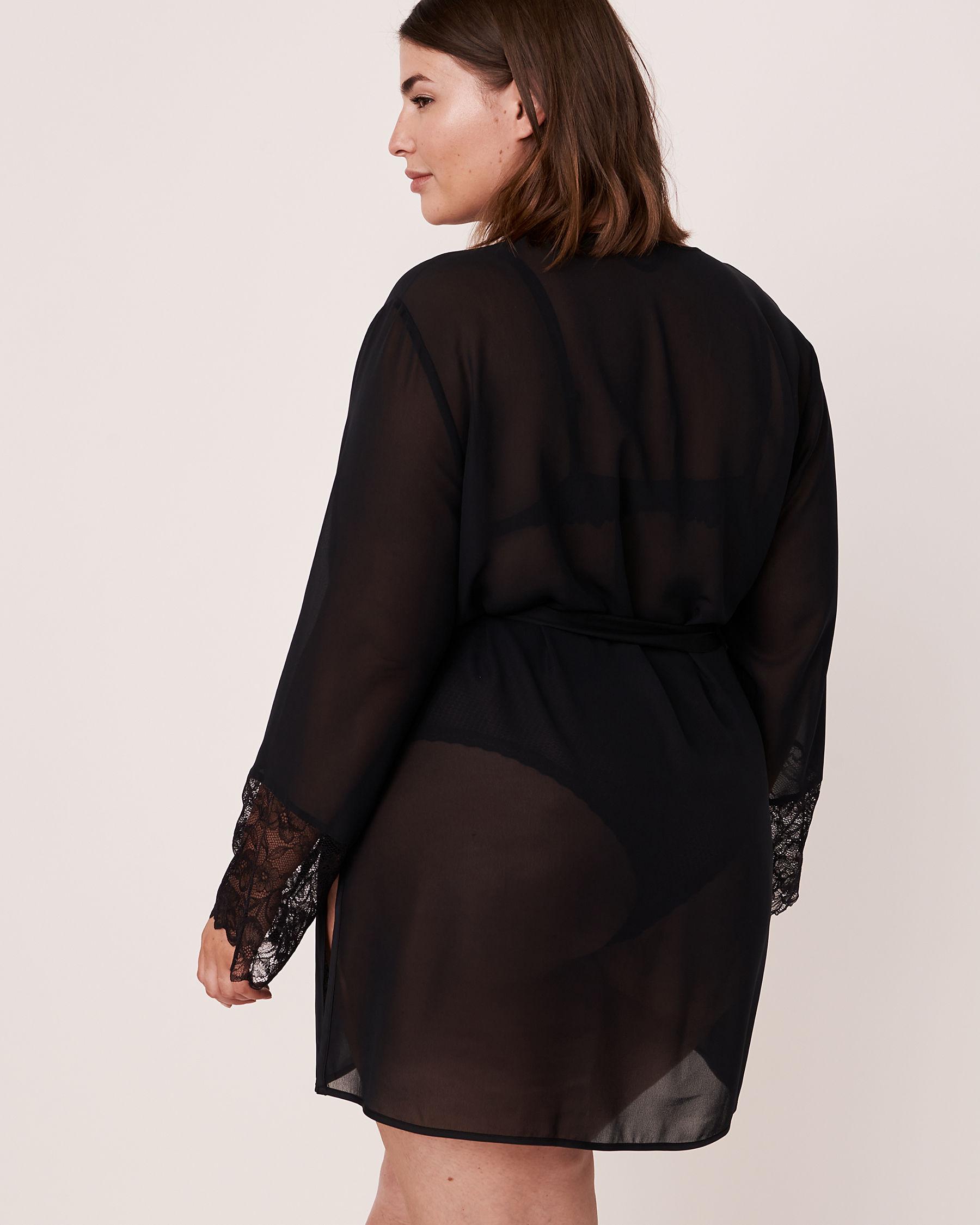 LA VIE EN ROSE Lace Trim Kimono Black 60600006 - View6
