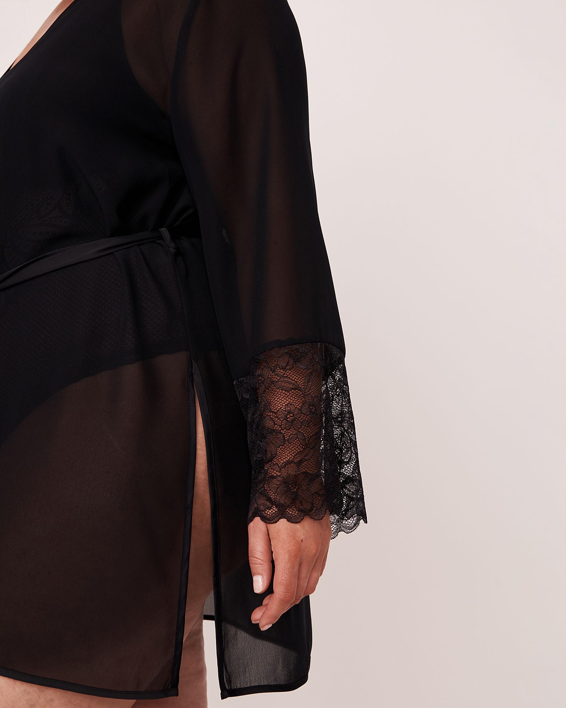 LA VIE EN ROSE Lace Trim Kimono Black 60600006 - View7