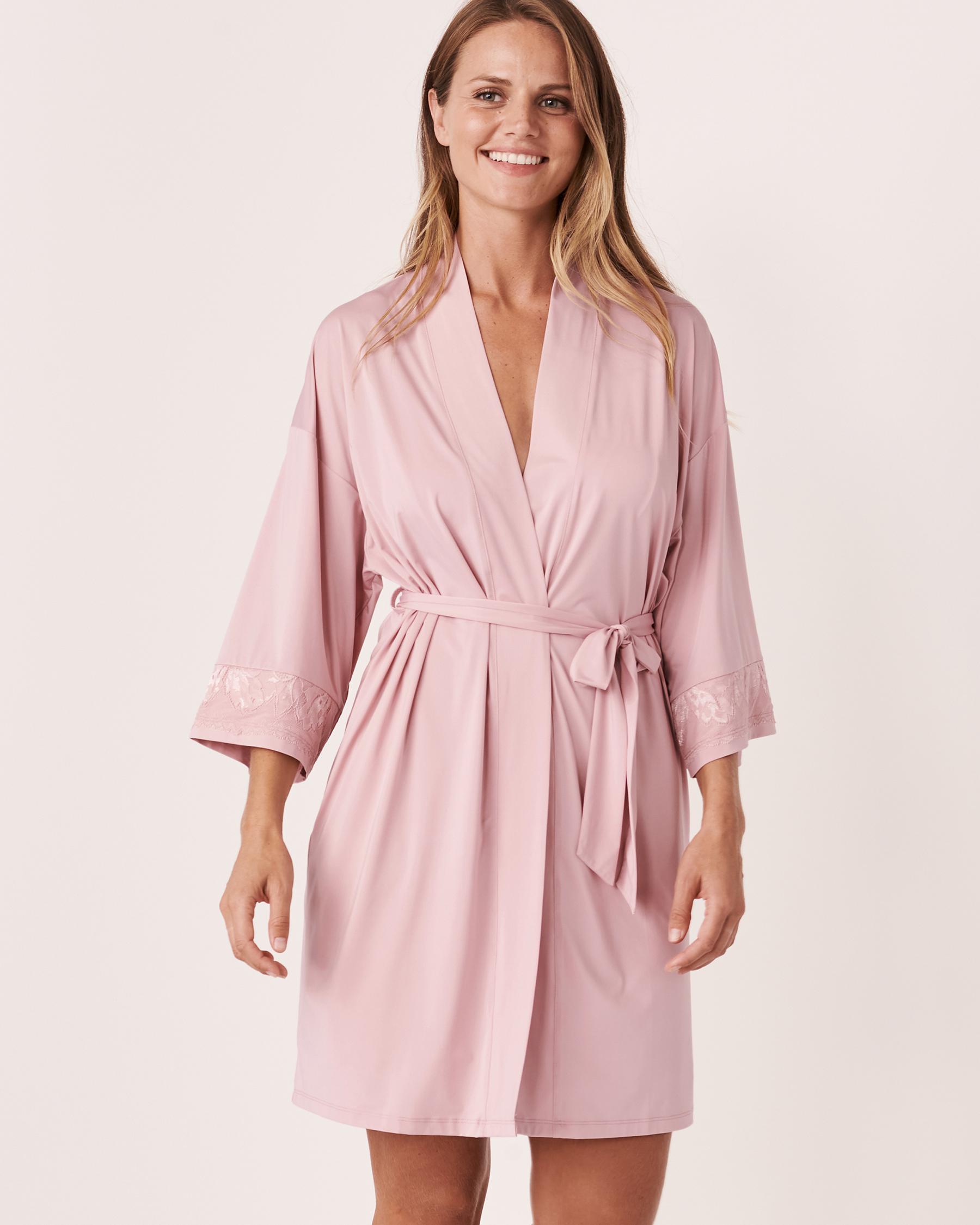 LA VIE EN ROSE Recycled Fibers Lace Trim Kimono Lilac 60600008 - View1
