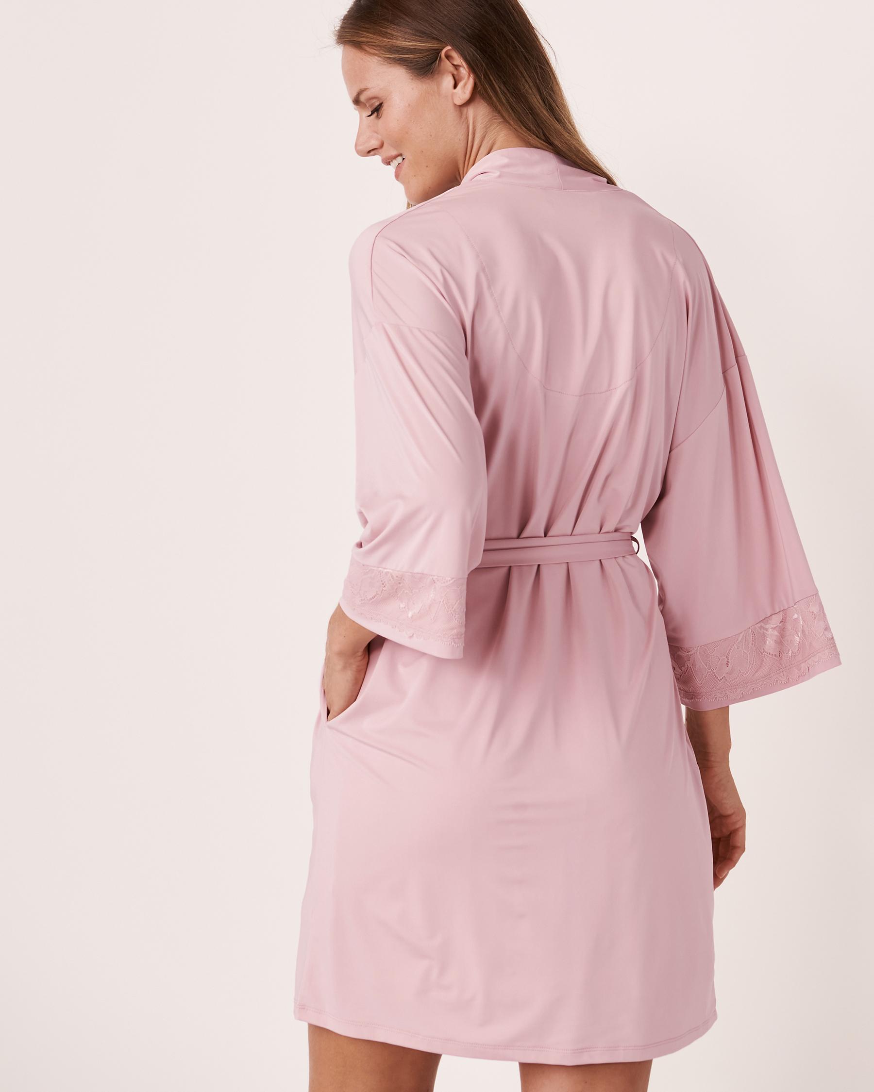 LA VIE EN ROSE Recycled Fibers Lace Trim Kimono Lilac 60600008 - View2