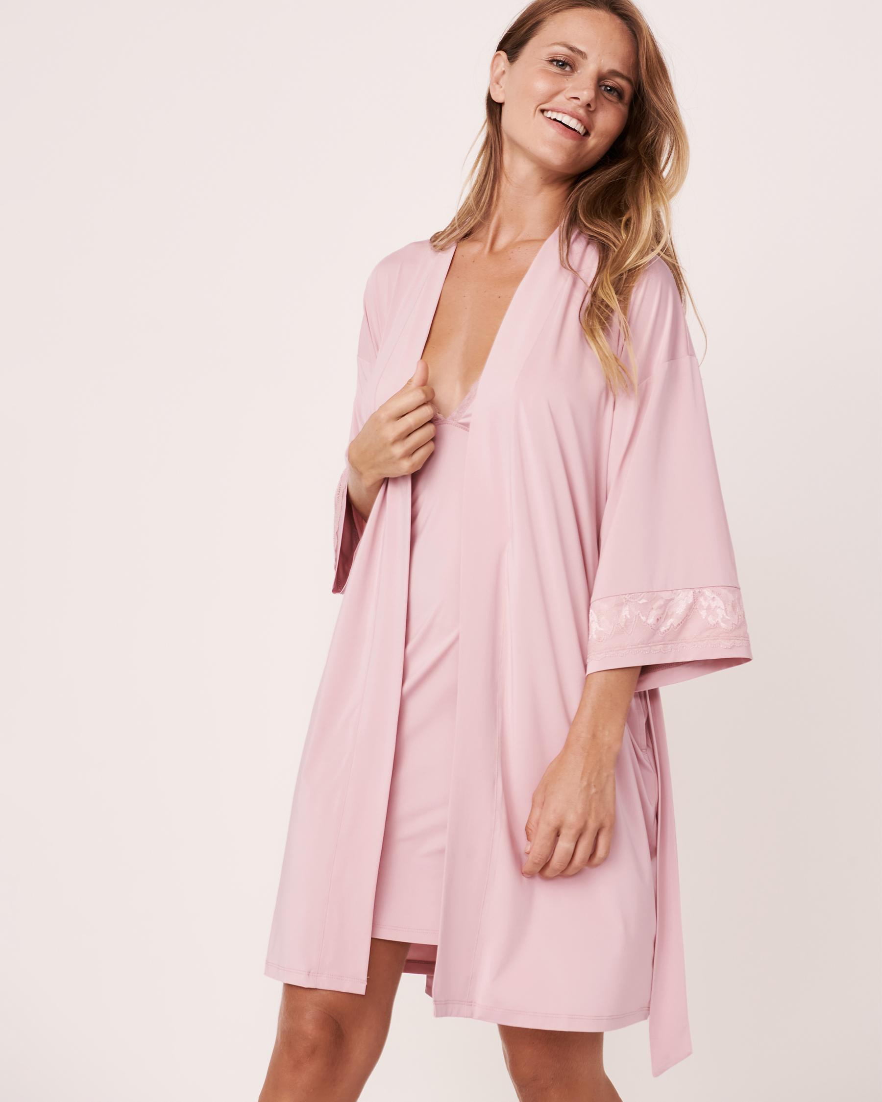 LA VIE EN ROSE Recycled Fibers Lace Trim Kimono Lilac 60600008 - View3