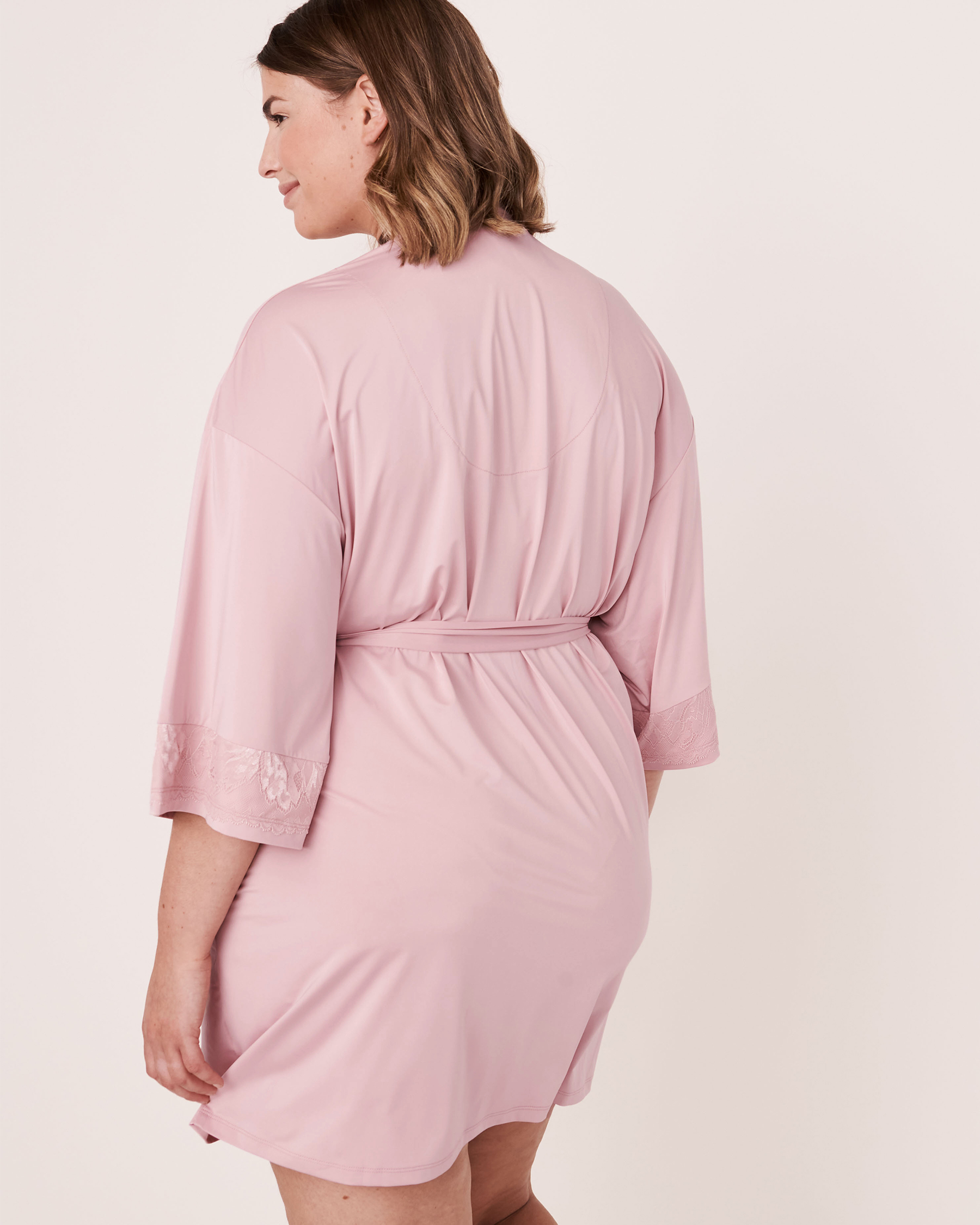 LA VIE EN ROSE Recycled Fibers Lace Trim Kimono Lilac 60600008 - View6