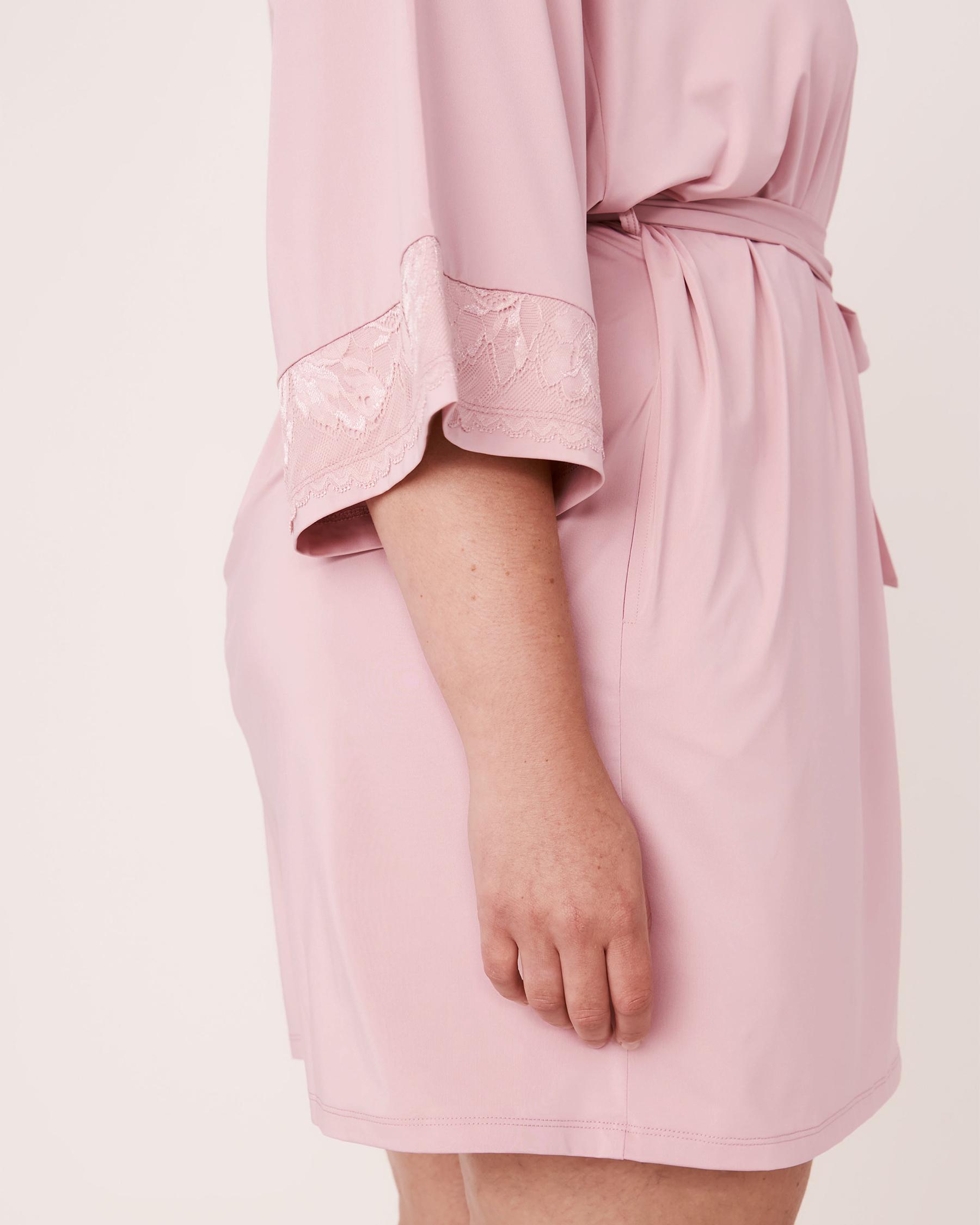 LA VIE EN ROSE Recycled Fibers Lace Trim Kimono Lilac 60600008 - View7