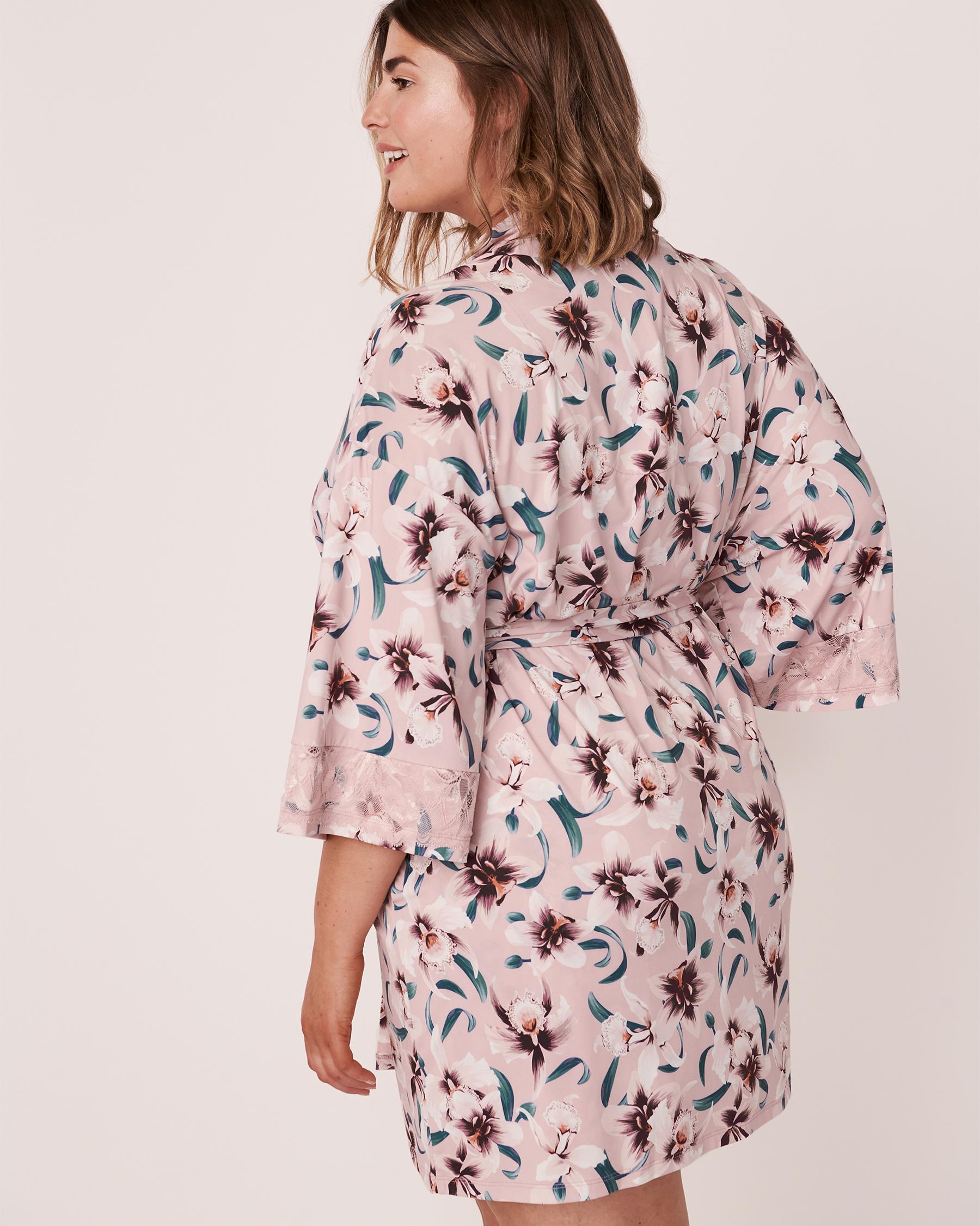 LA VIE EN ROSE Recycled Fibers Lace Trim Kimono Orchids 60600008 - View2