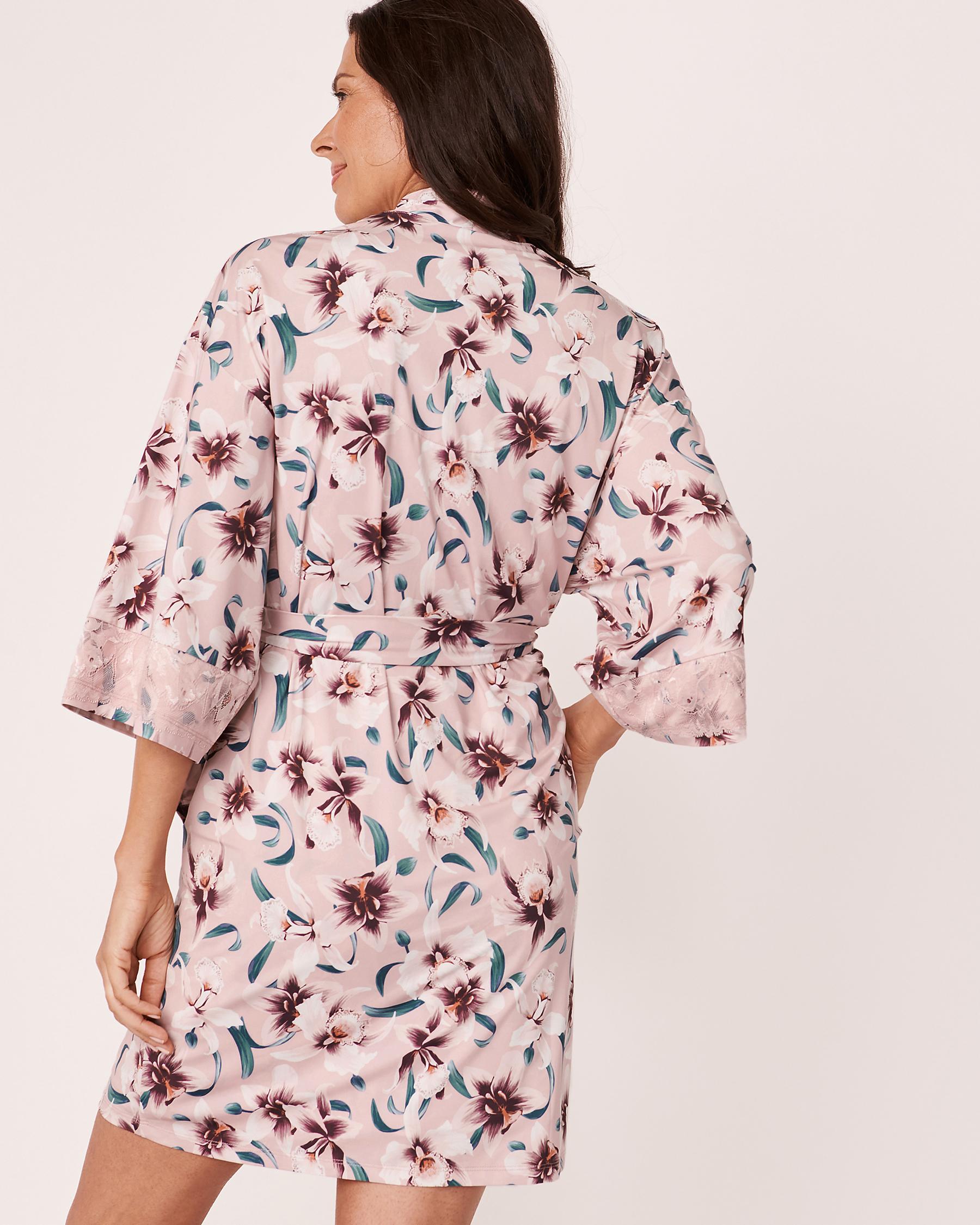 LA VIE EN ROSE Recycled Fibers Lace Trim Kimono Orchids 60600008 - View5