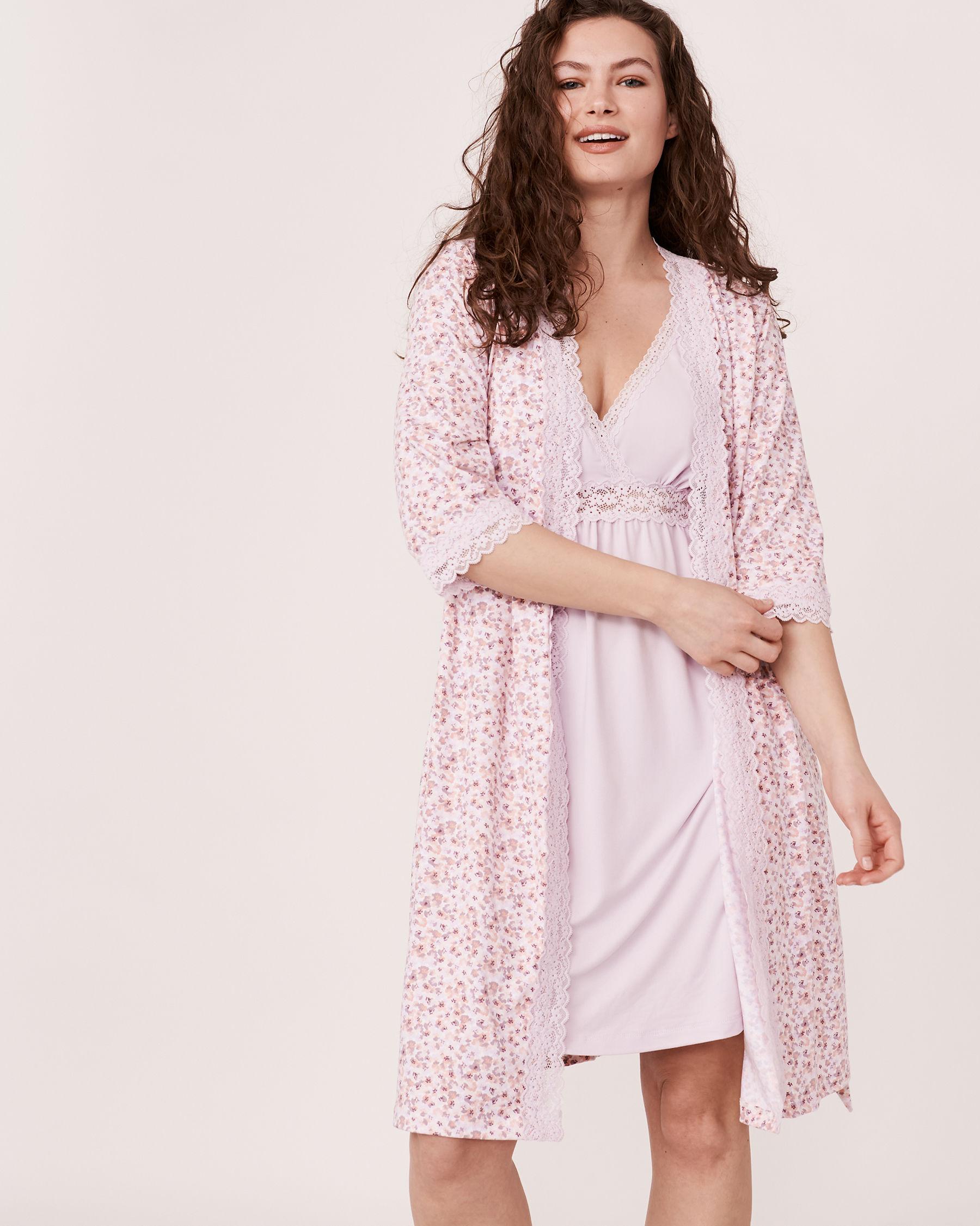 LA VIE EN ROSE Lace Trim Kimono Ditsy floral 40600012 - View1