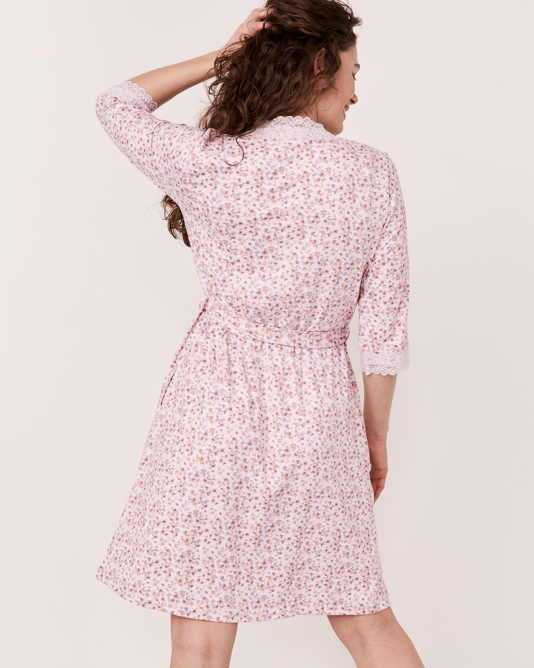 LA VIE EN ROSE Lace Trim Kimono Ditsy floral 40600012 - View2